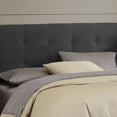Double Button Tufted Upholstered Panel Headboard Size: California King, Color: Black