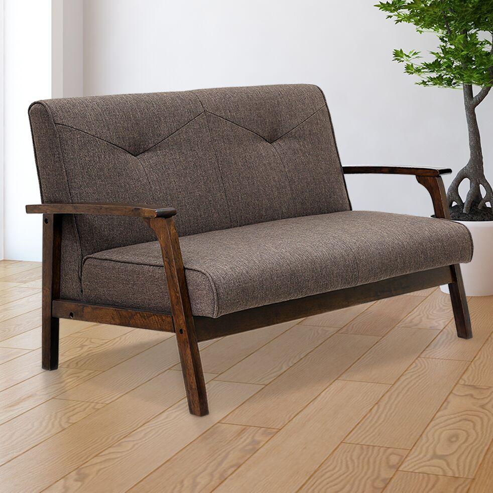 Alijah Mid Century Vintage Modular Loveseat Upholstery: Dark Brown