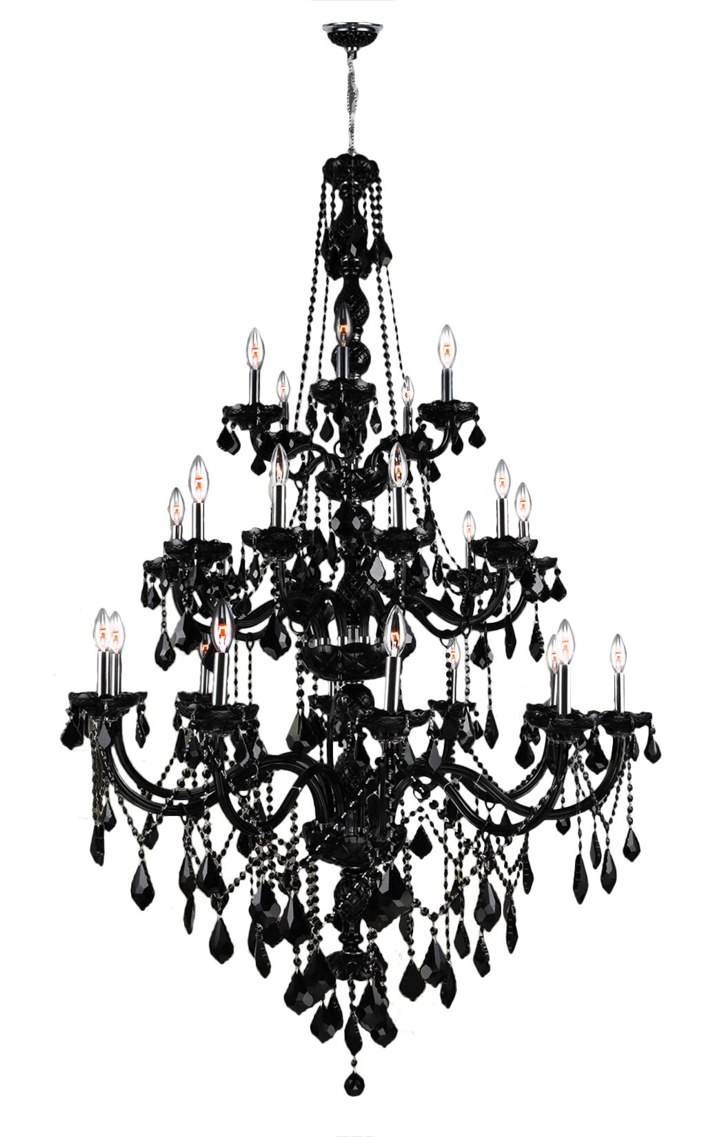 Doggett 25-Light Candle Style Chandelier Crystal Color: Black