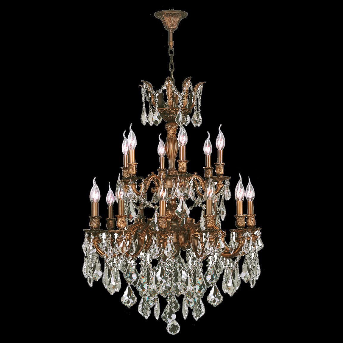Dodson Traditional 18-Light Chain Candle Style Chandelier Crystal Color: Golden Teak