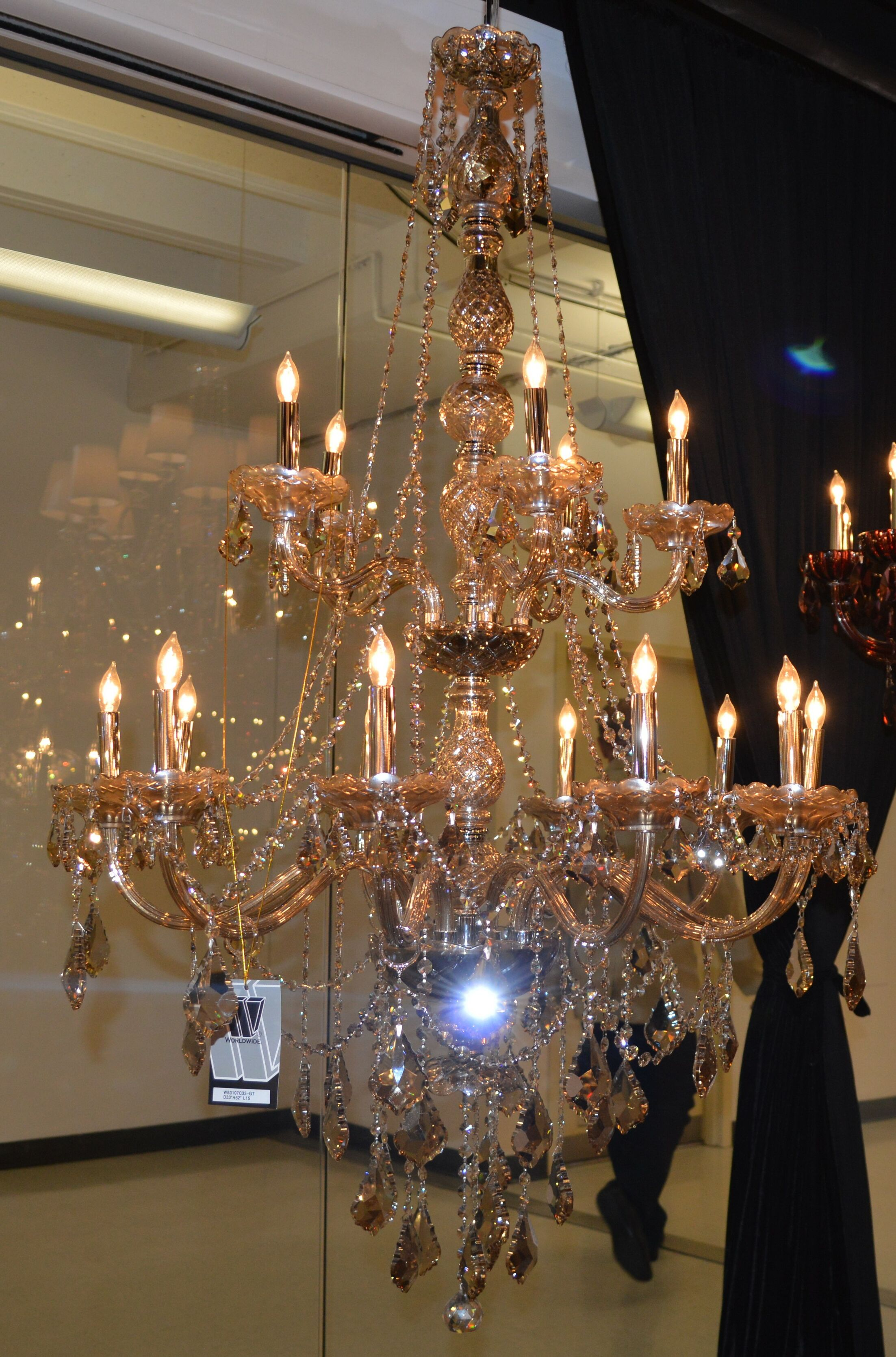 Doggett Traditional 15-Light Candle Style Chandelier Crystal Color: Golden Teak