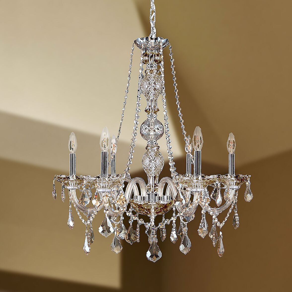 Doggett 6-Light Chain Candle Style Chandelier Crystal Color: Golden Teak