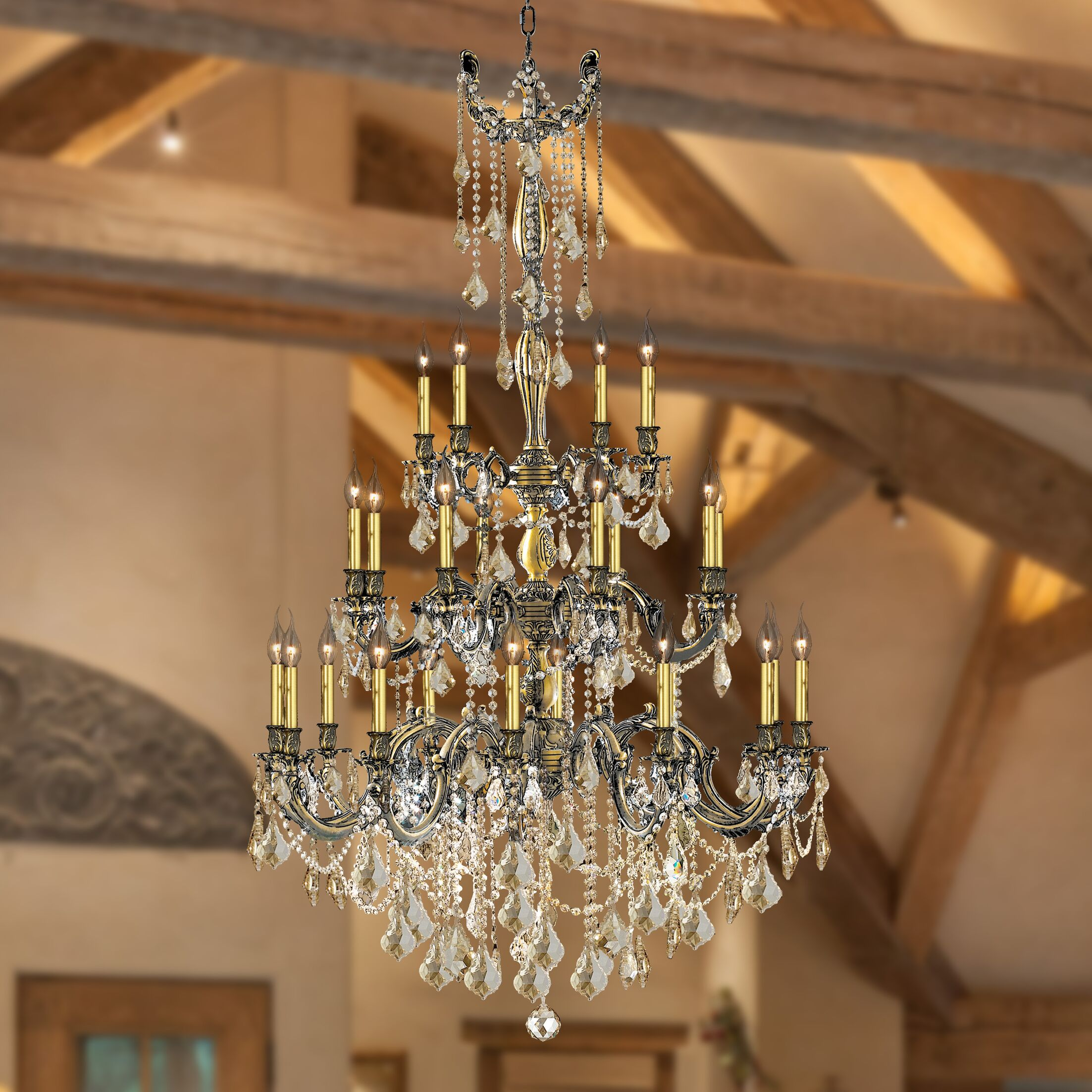 Radtke 25-Light Candle Style Chandelier Color: Antique Bronze, Crystal Color: Golden Teak