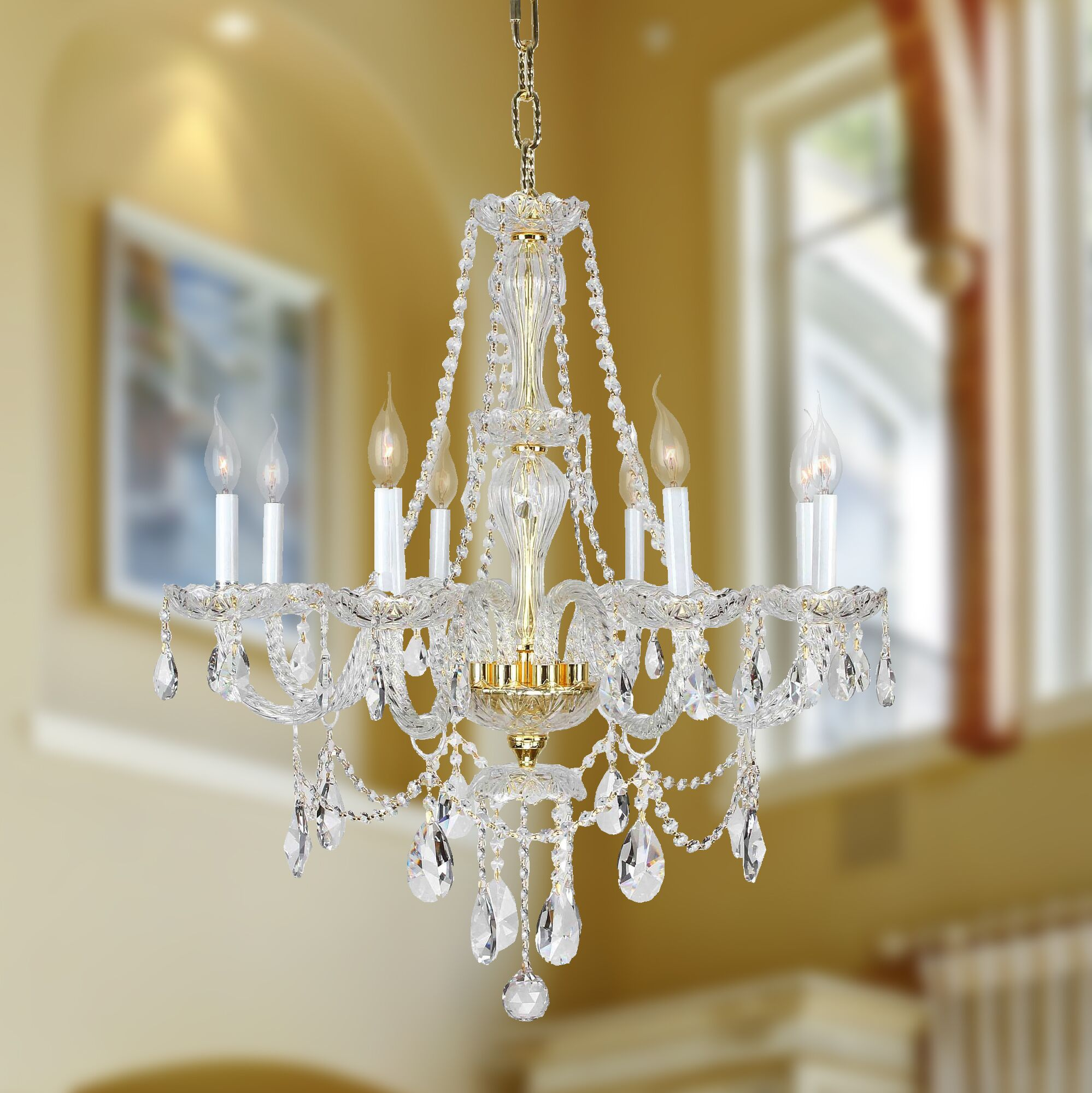 Pulaski Traditional 8-Light Candle Style Chandelier Color: Gold