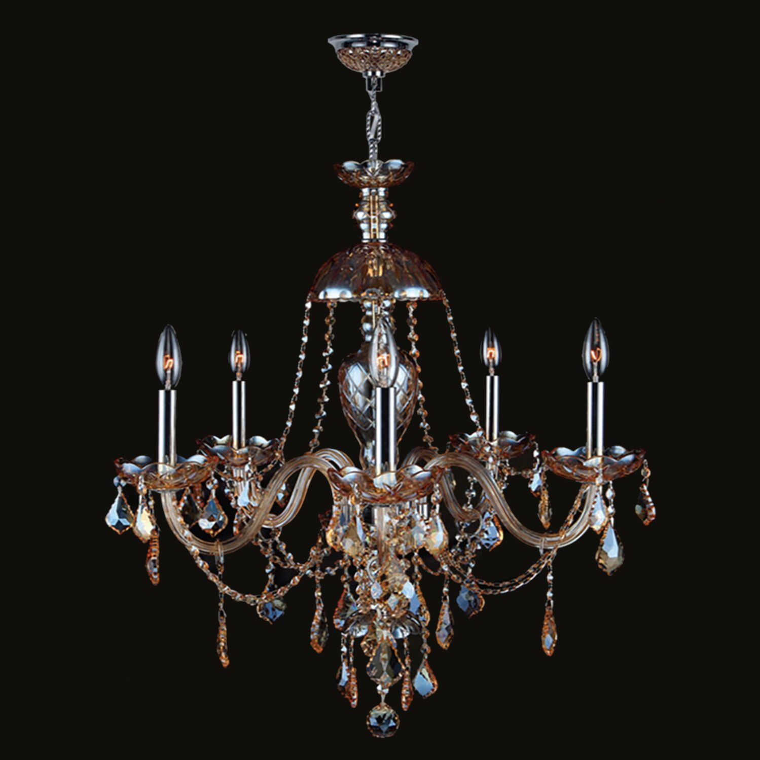 Doggett Traditional 5-Light Candle Style Chandelier Crystal Color: Amber