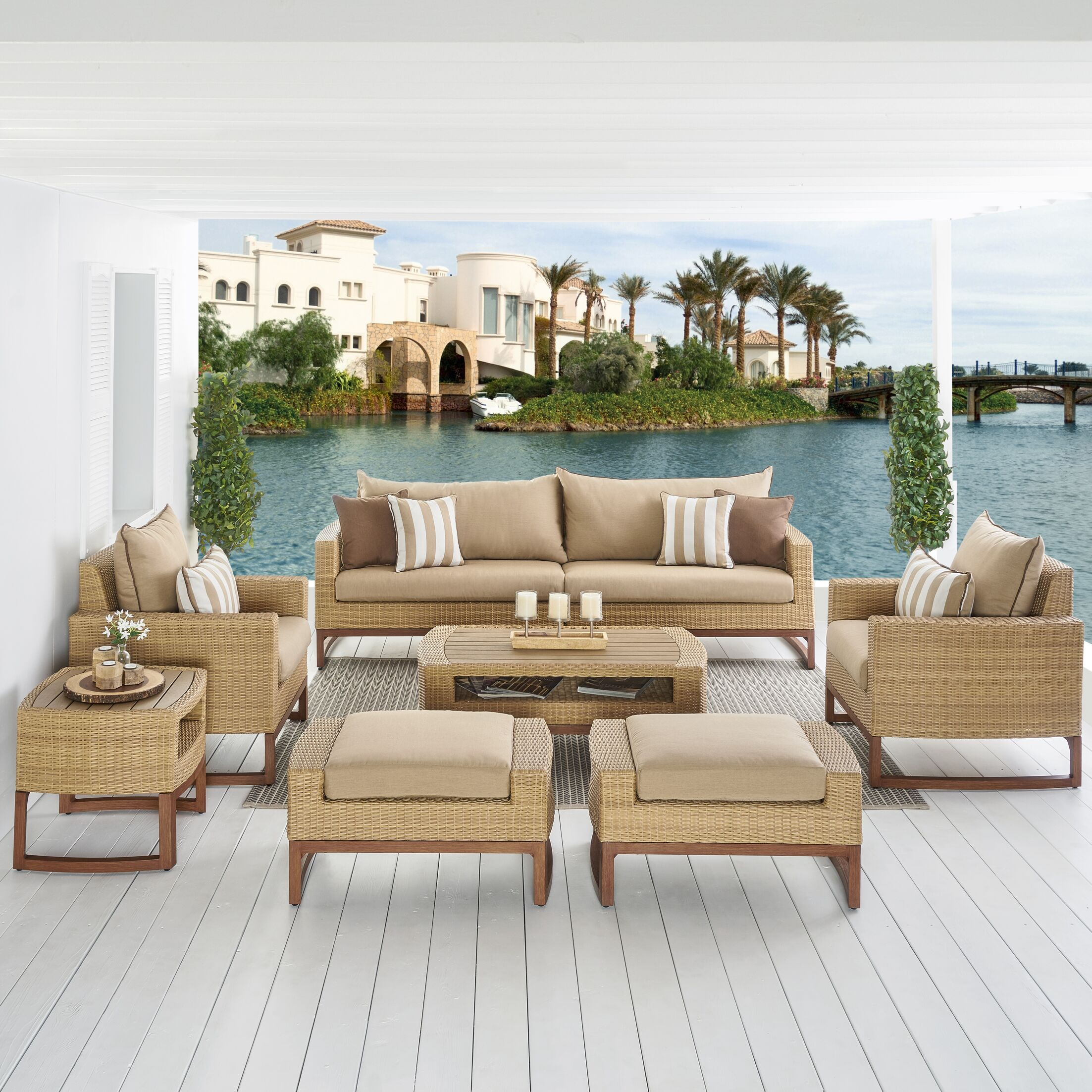 Addison 8 Piece Sunbrella Sofa Set with Cushions Fabric: Maxim Beige