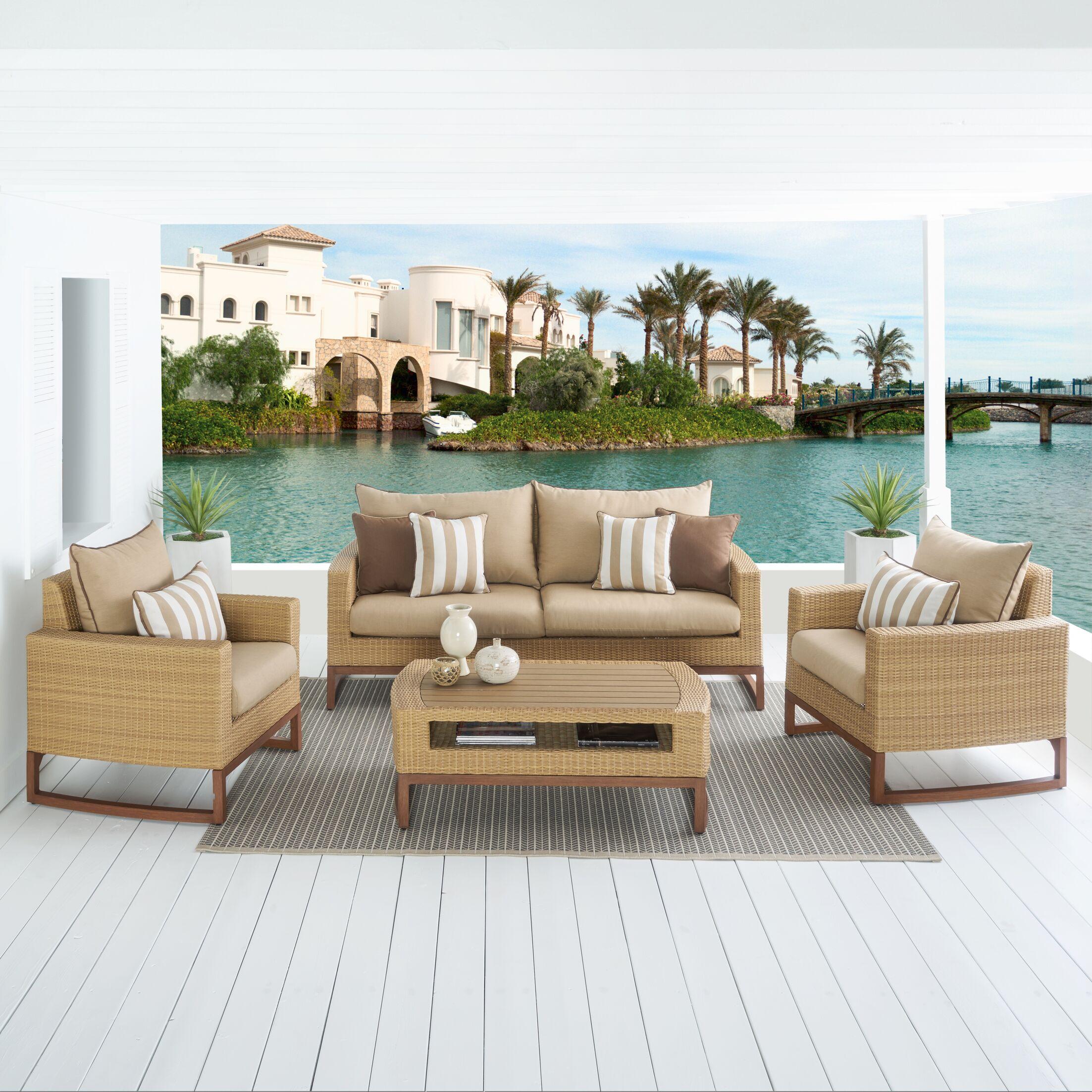 Addison 4 Piece Sunbrella Sofa Set with Cushions Fabric: Maxim Beige
