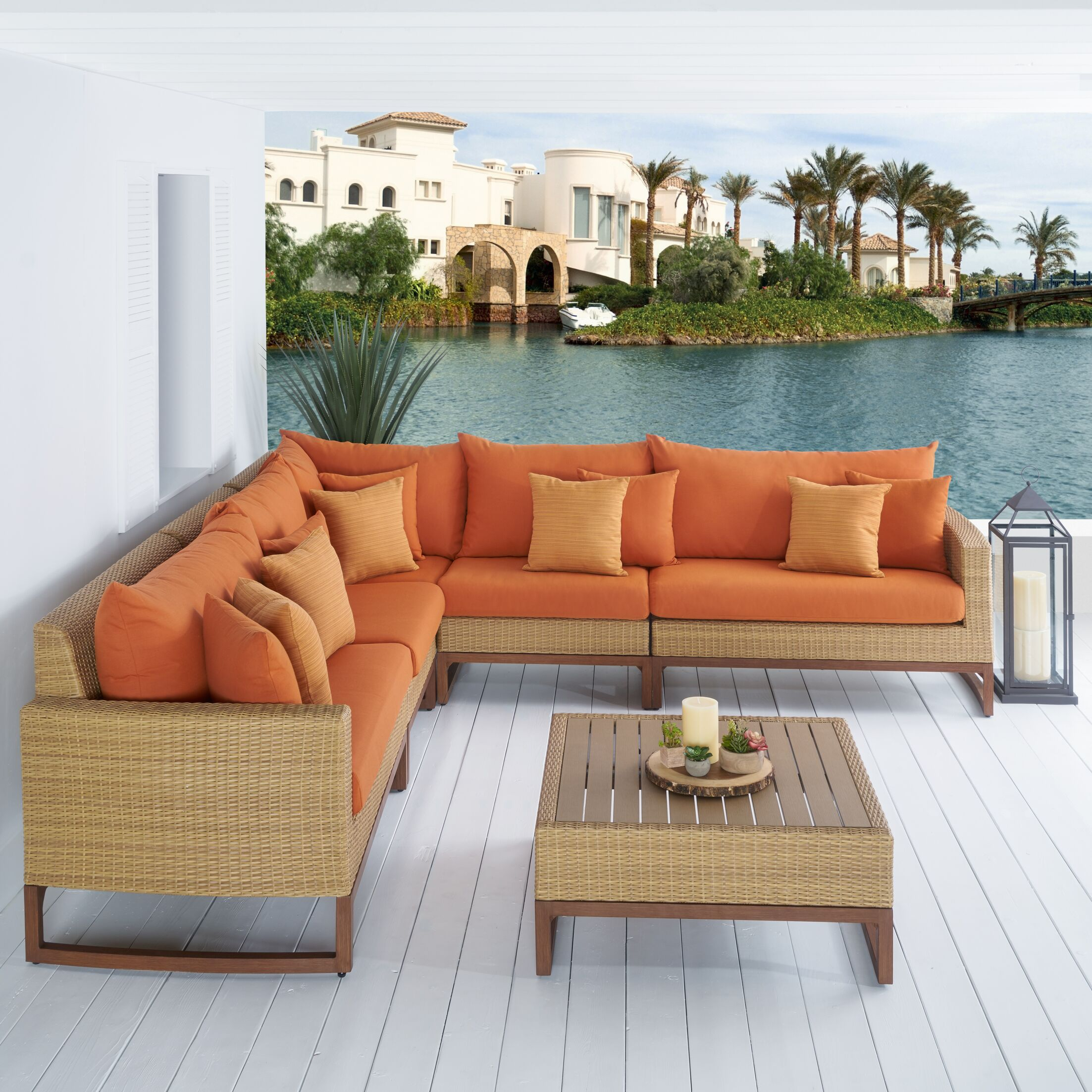 Addison 6 Piece Sunbrella Sectional Set with Cushions Fabric: Tikka Orange