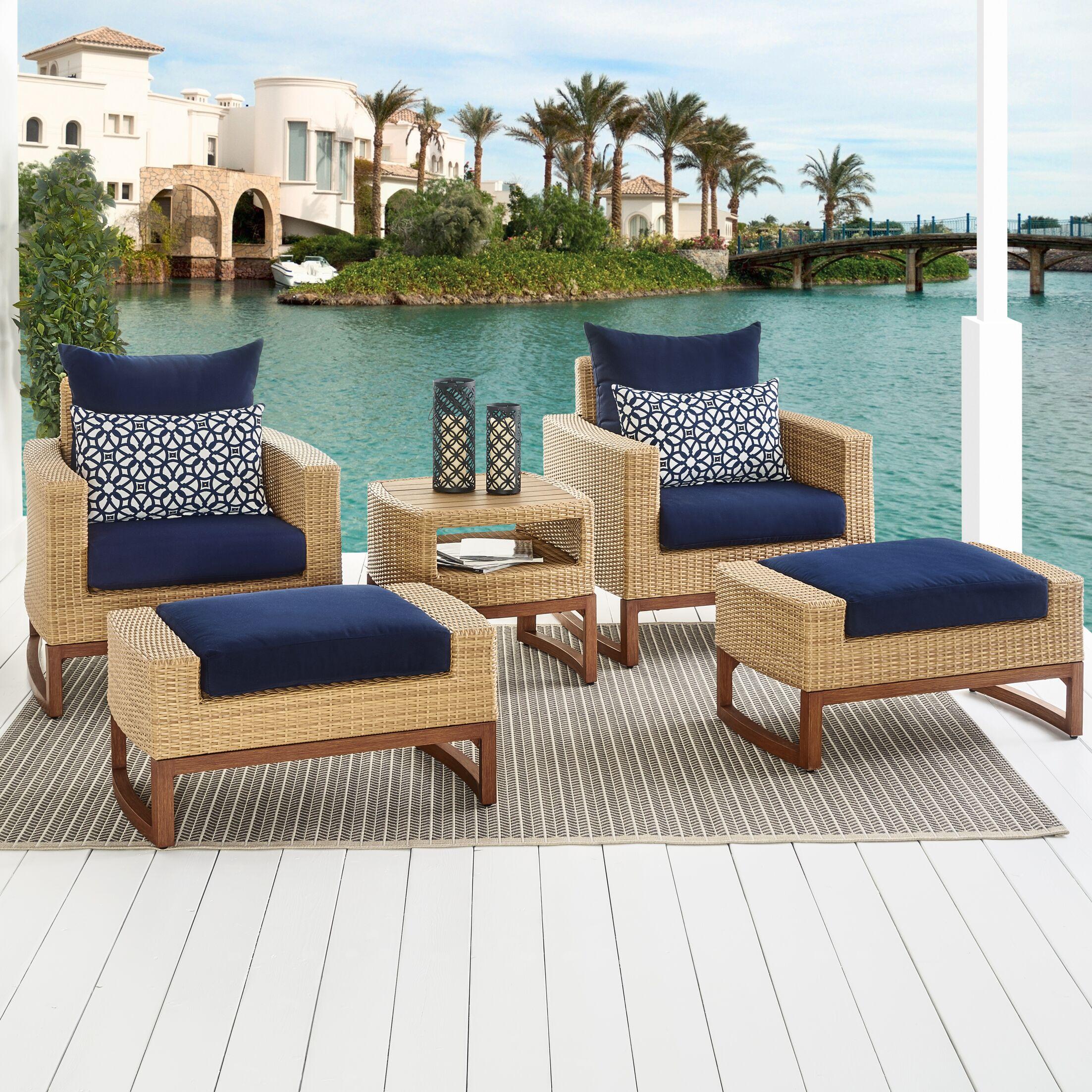 Addison 5 Piece Sunbrella Conversation Set with Cushions Fabric: Navy Blue