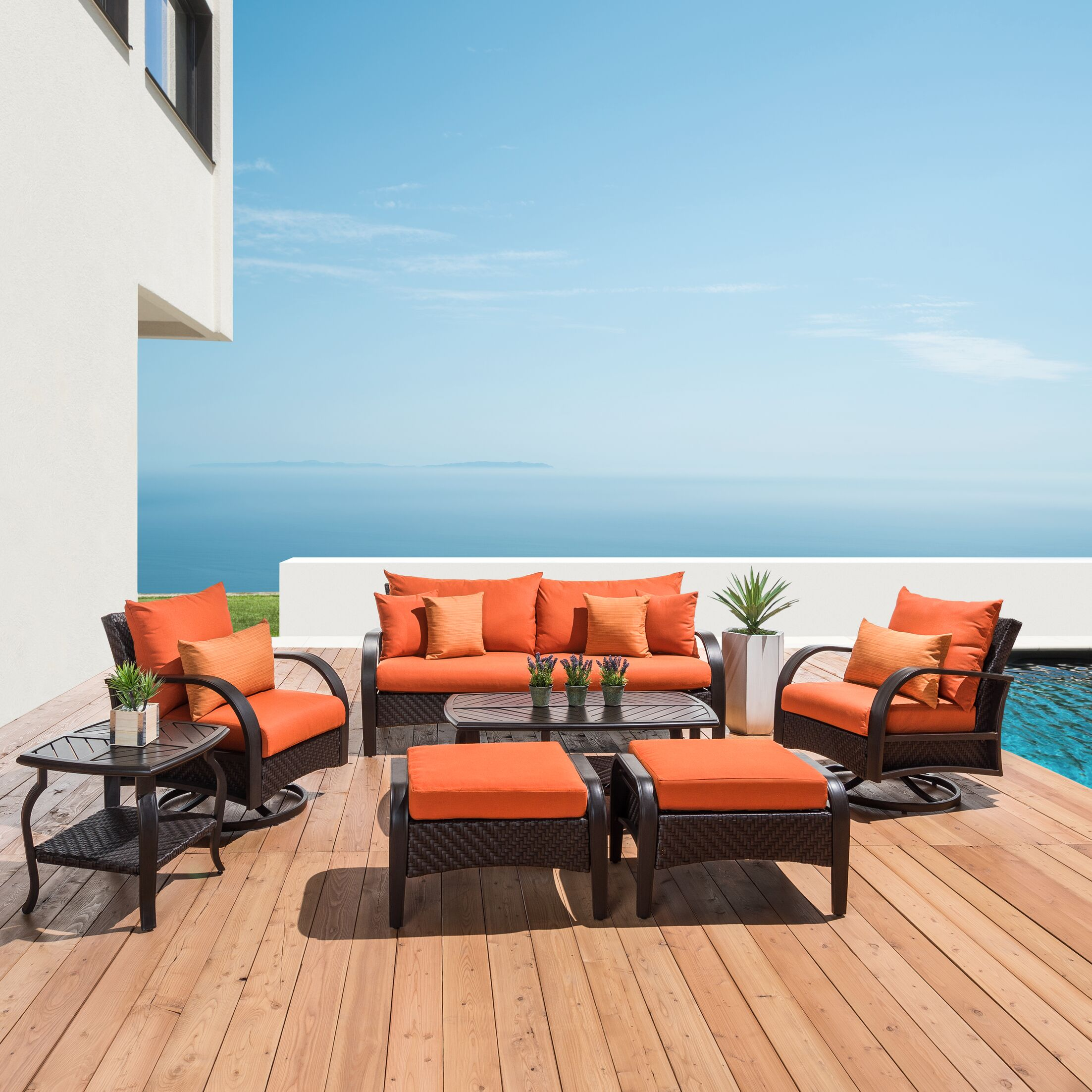 Cumberland 7 Piece Sunbrella Sofa Set with Cushions Cushion Color: Tikka Orange