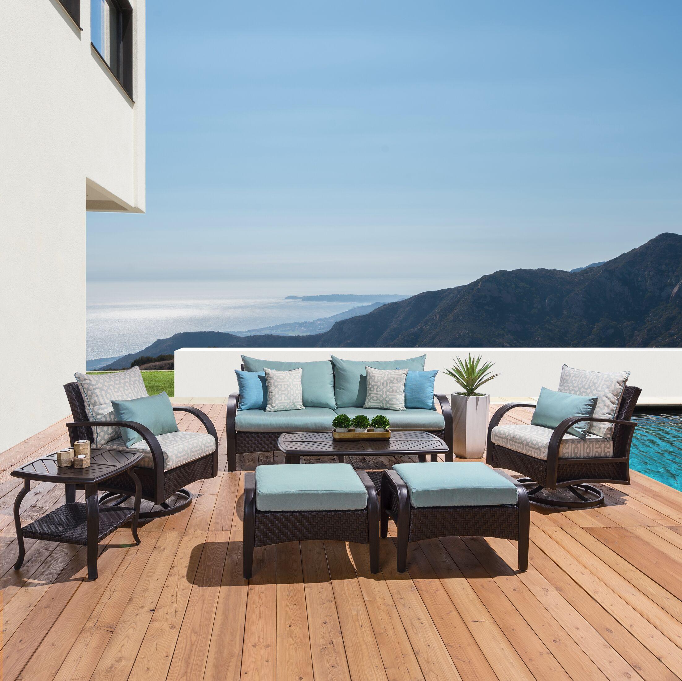Cumberland 7 Piece Sunbrella Sofa Set with Cushions Cushion Color: Spa Blue Deluxe