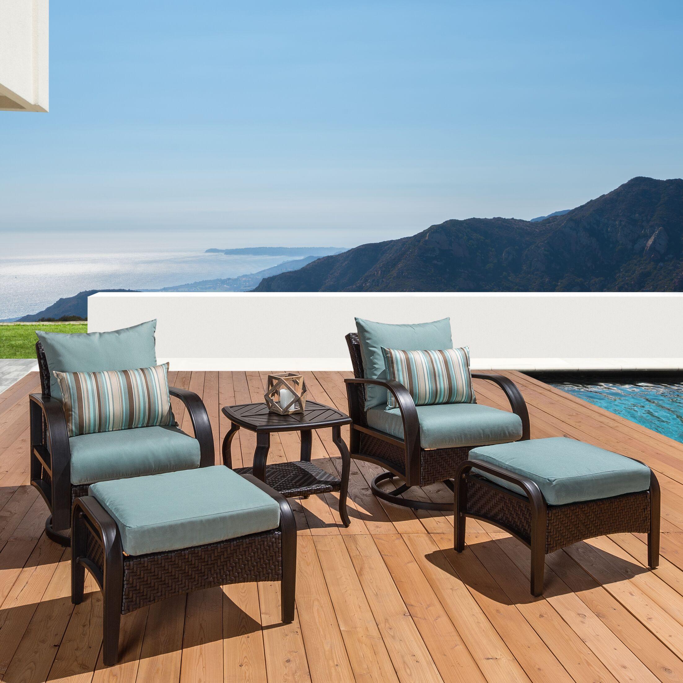 Cumberland 5 Piece Sunbrella Conversation Set with Cushions Cushion Color: Bliss Blue