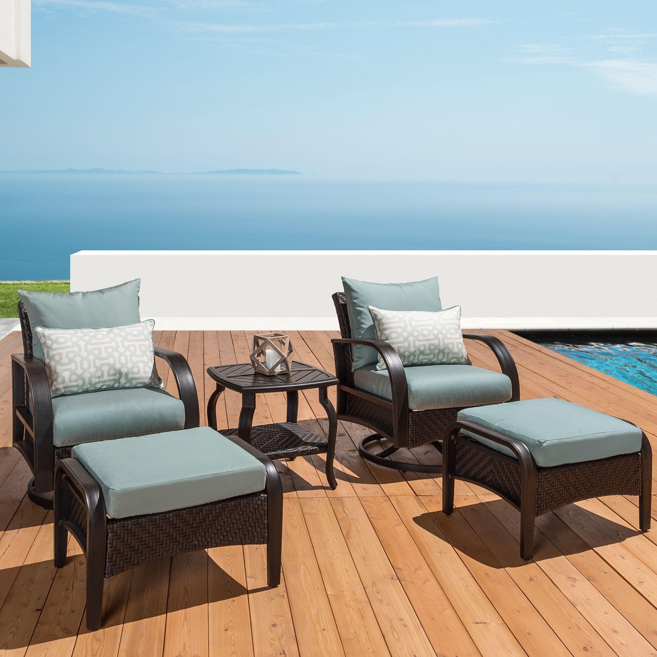 Cumberland 5 Piece Sunbrella Conversation Set with Cushions Cushion Color: Spa Blue/White