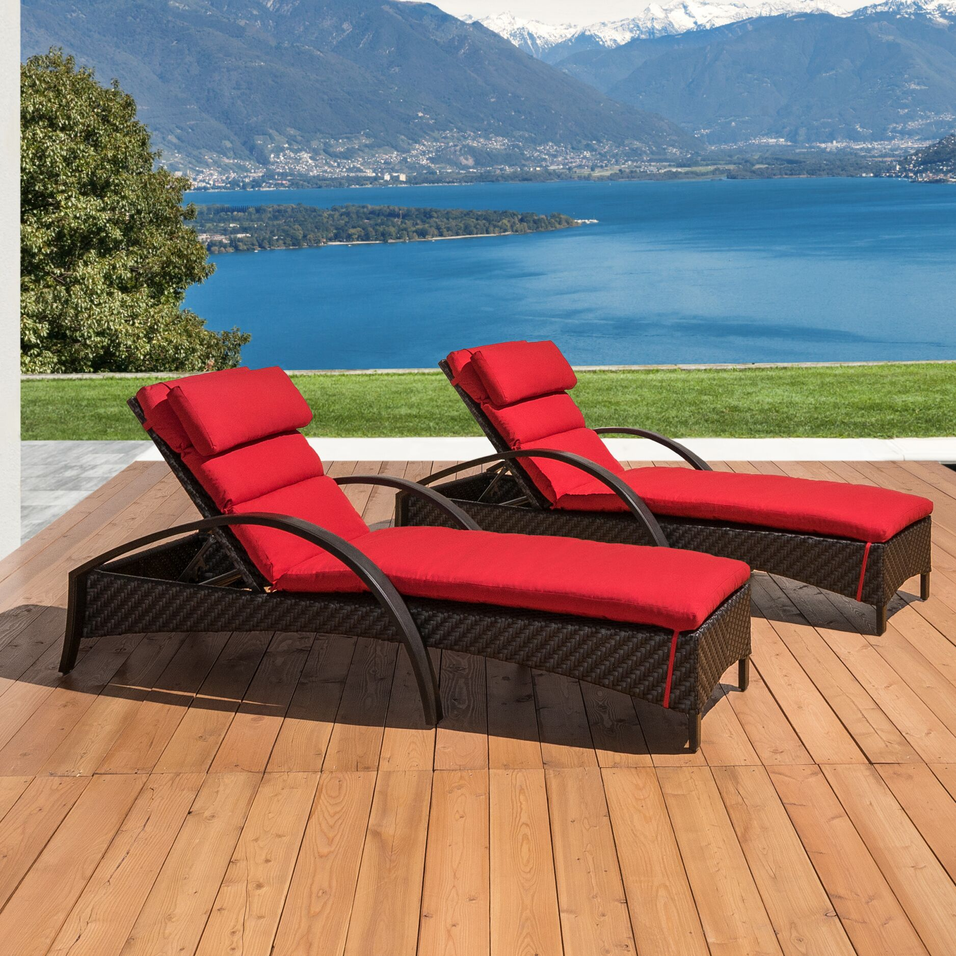 Cumberland Contemporary Reclining Chaise Lounge with Cushion Cushion Color: Red
