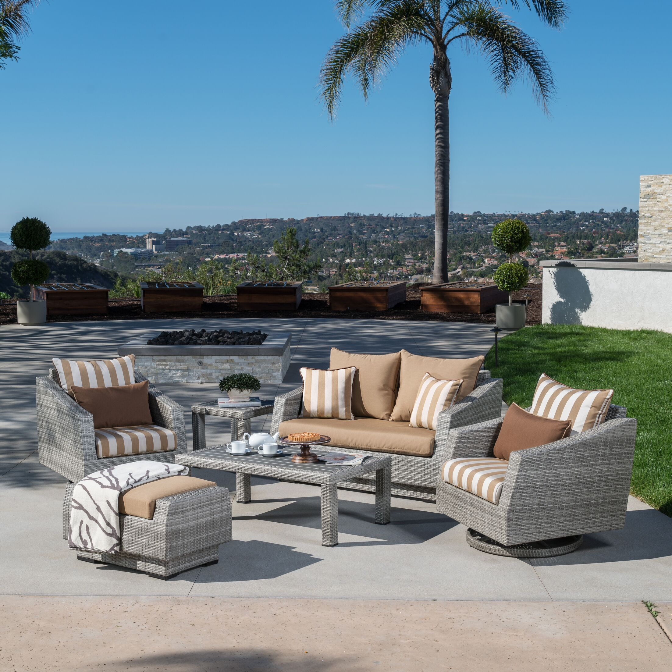 Greenfield Deluxe Love and Motion 6 Piece Sunbrella Sofa Set with Cushions Fabric: Maxim Beige