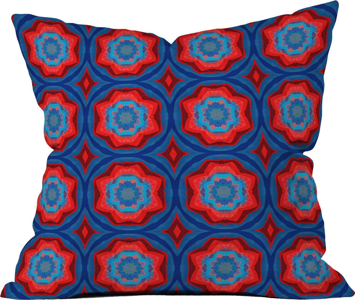 Red Sun Flowers Throw Pillow (Set of 2) Size: 20