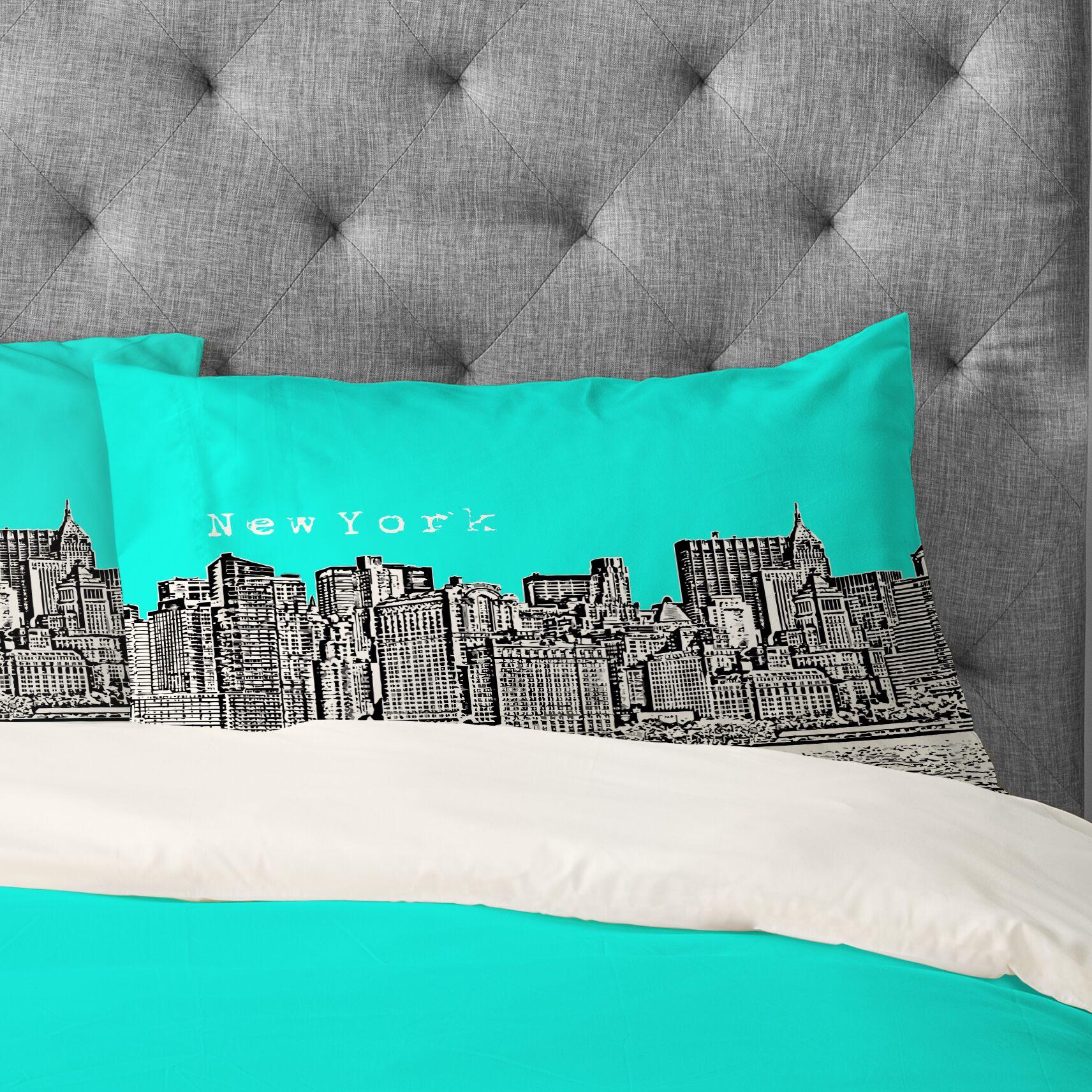 Bird Ave New York Pillowcase Color: Aqua, Size: Standard