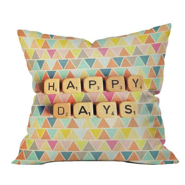 Happy Days Outdoor Throw Pillow