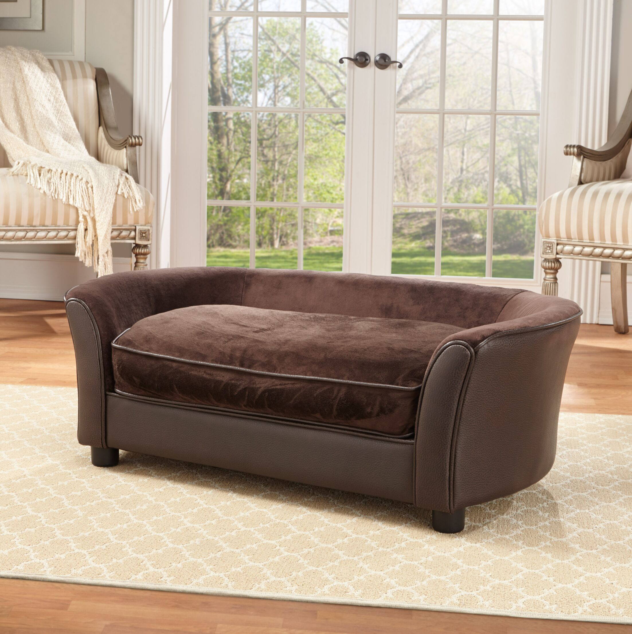 Cora Dog Sofa with Storage Pocket Color: Brown