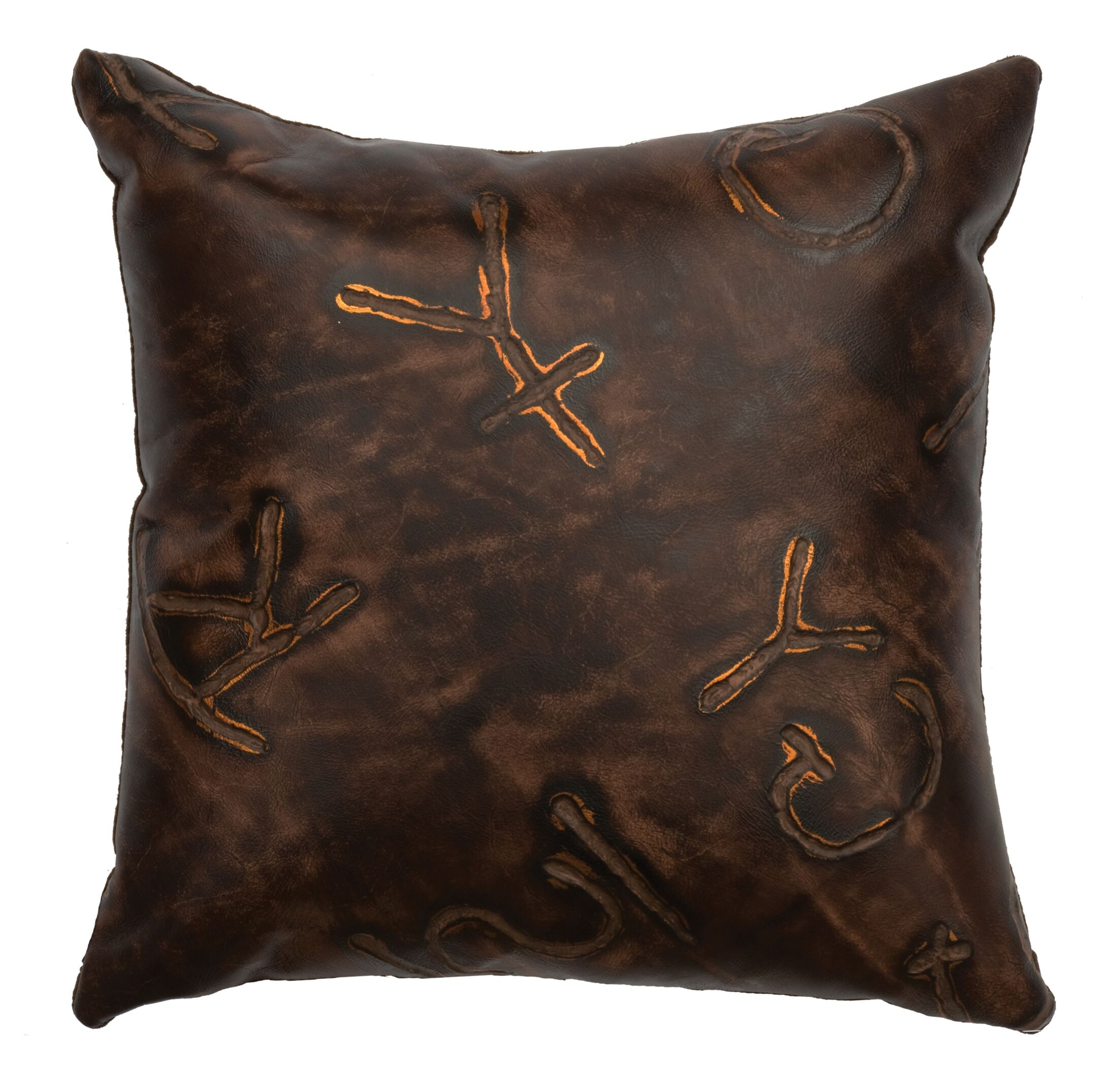 Stampede Leather Throw Pillow