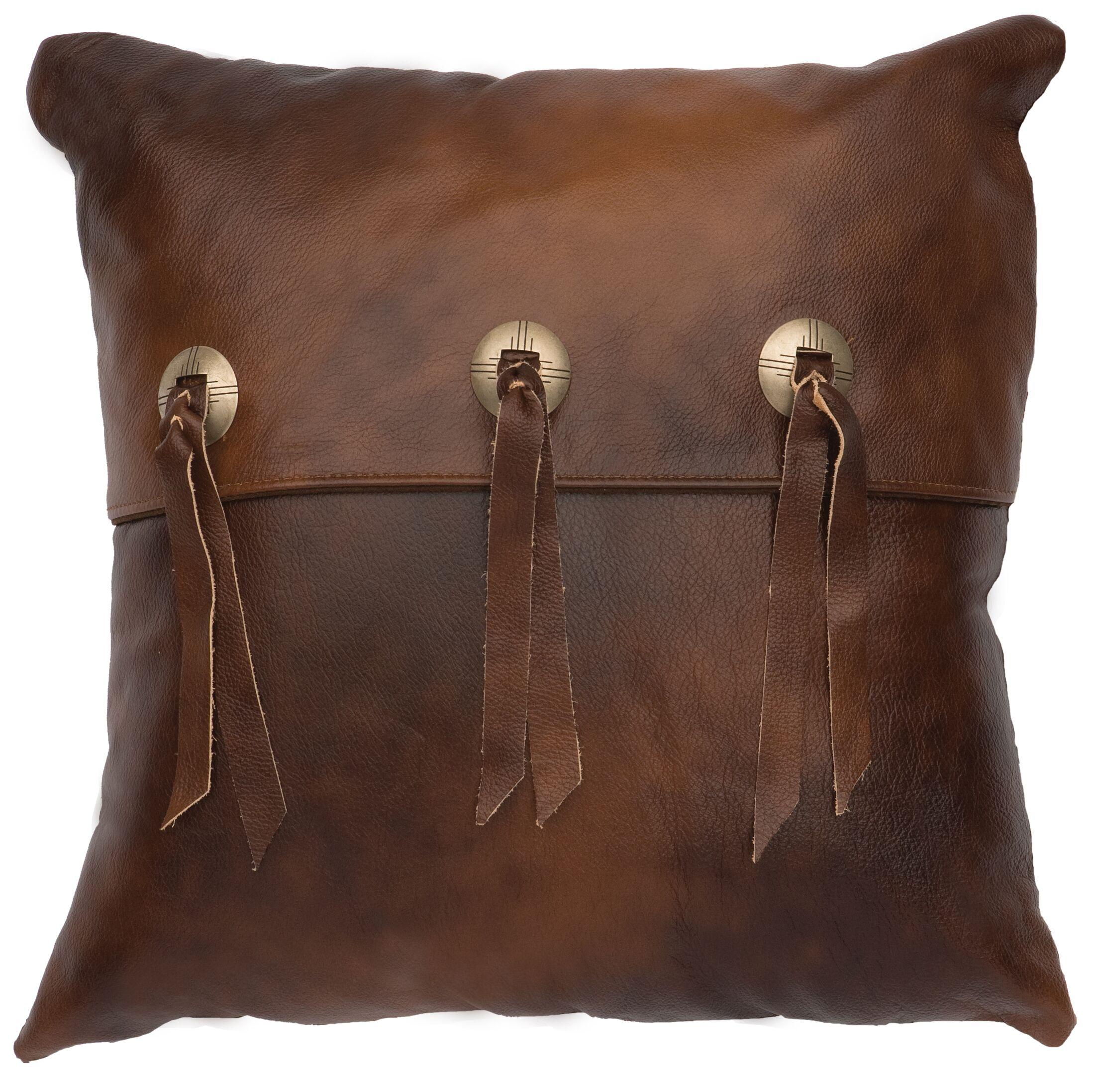 Painted Desert II Leather Throw Pillow