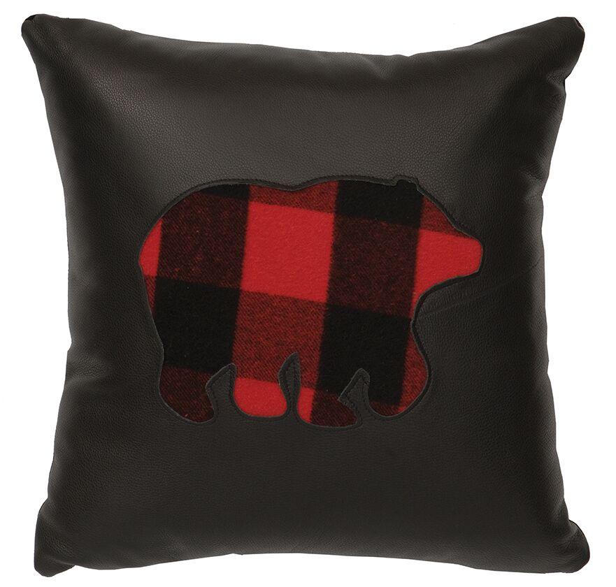 Shea Plaid Bear Throw Pillow