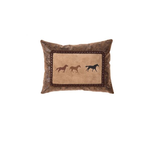 Mustang Canyon Three Horse Embroidery Throw Pillow