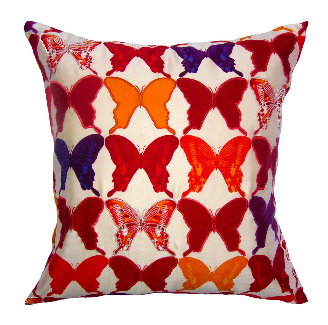 Flower Power Butterfly Throw Pillow Color: Cream