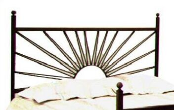 El Sol Open-Frame Headboard Color: Aged Iron, Size: Queen