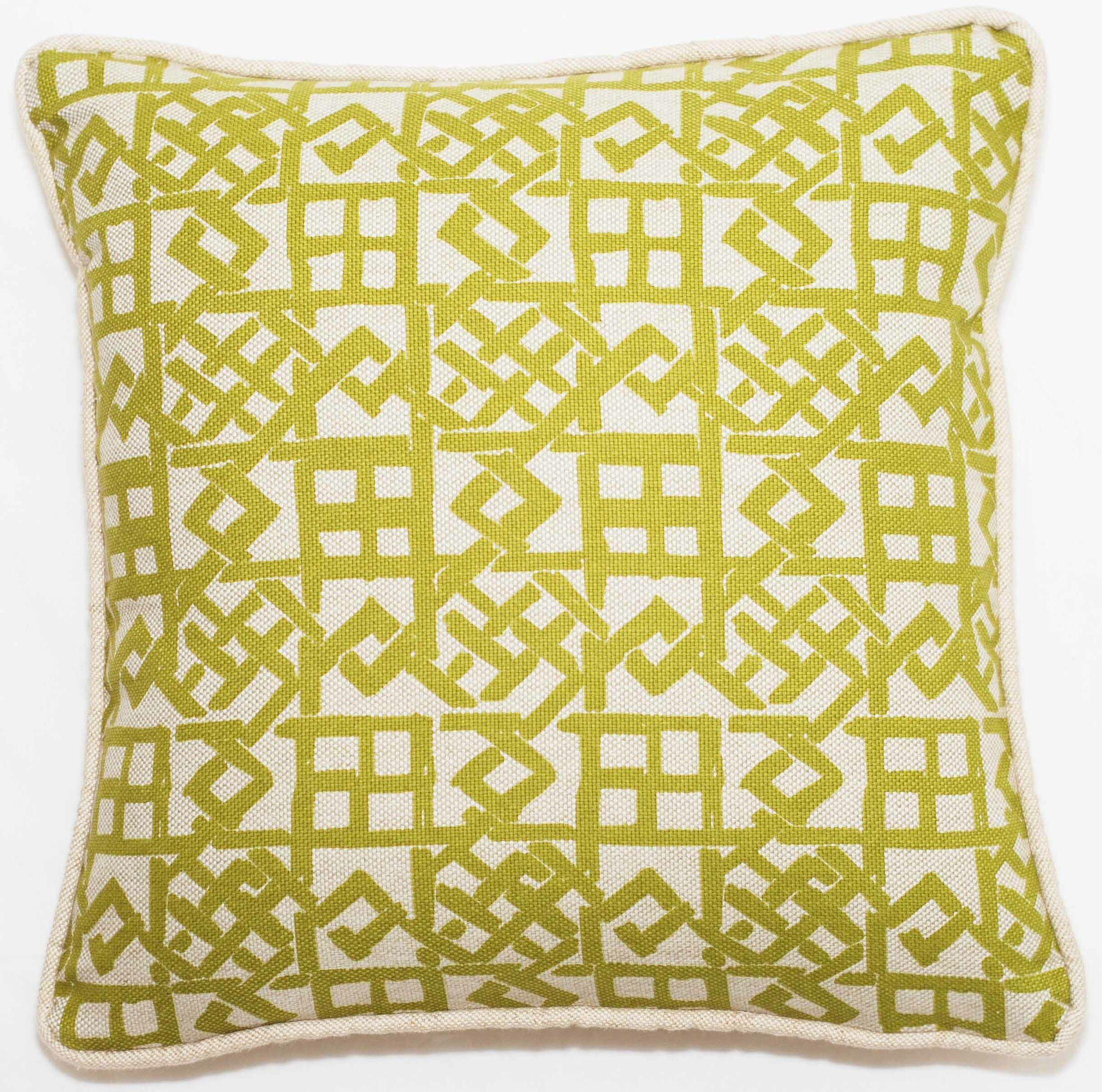 Modern Lattice Throw Pillow Color: Green, Size: 11