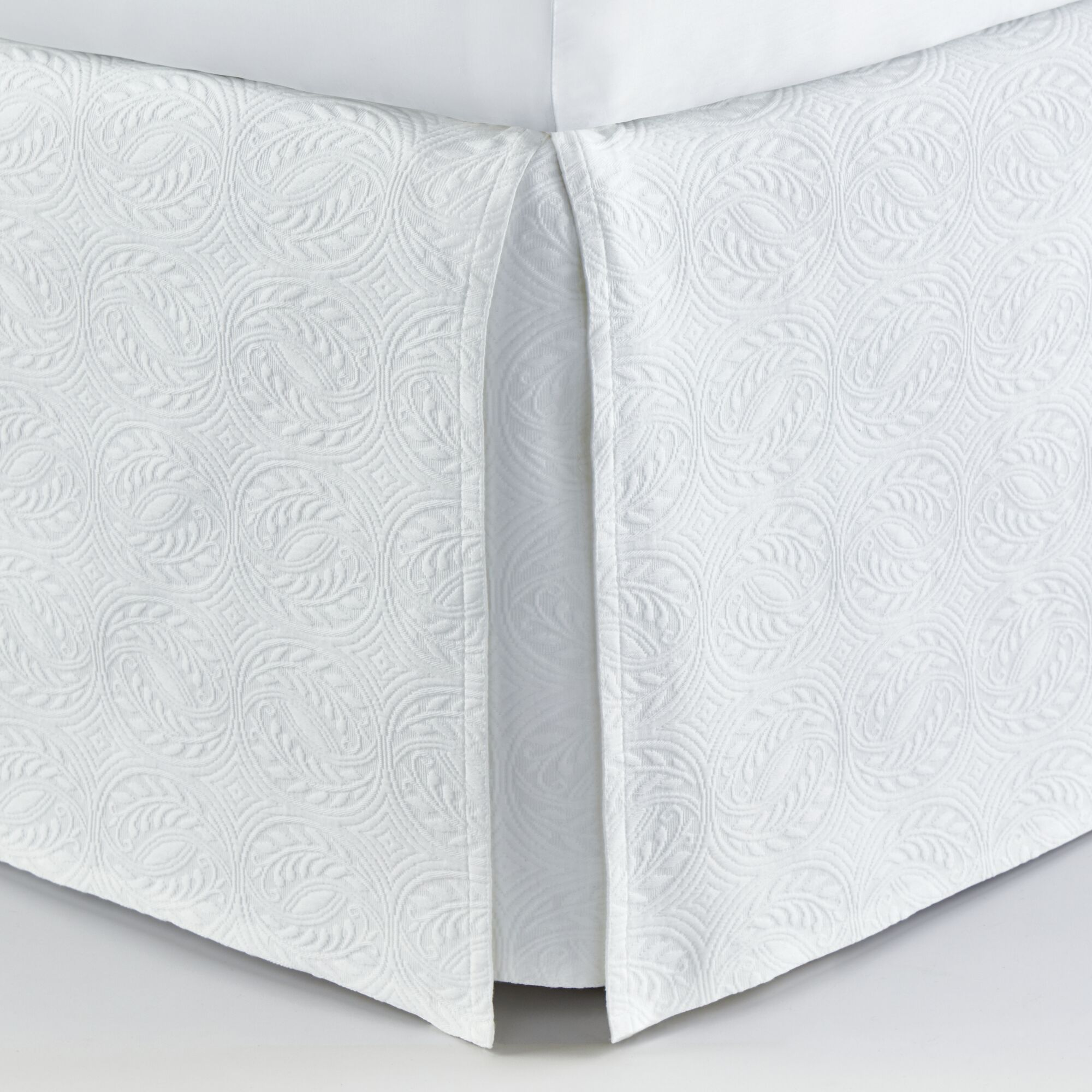 Signature Vienna Panel Bed Skirt Color: White, Size: Queen