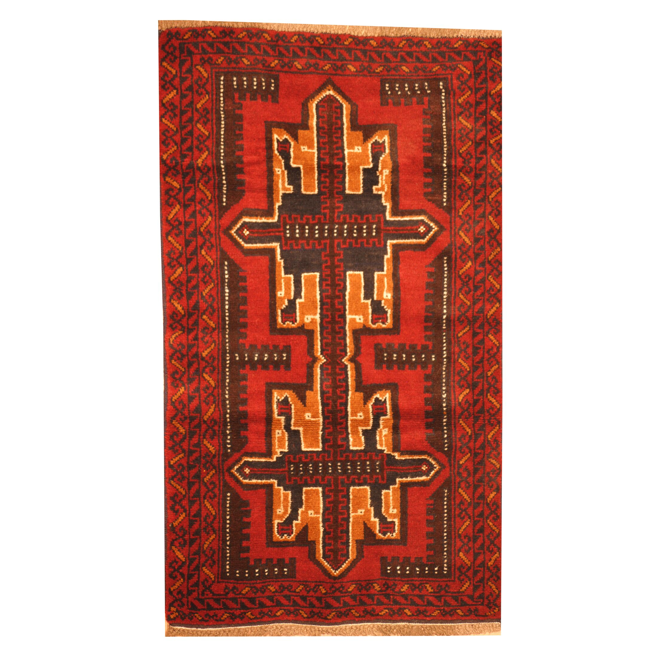 Prentice Hand-Knotted Burgundy Area Rug