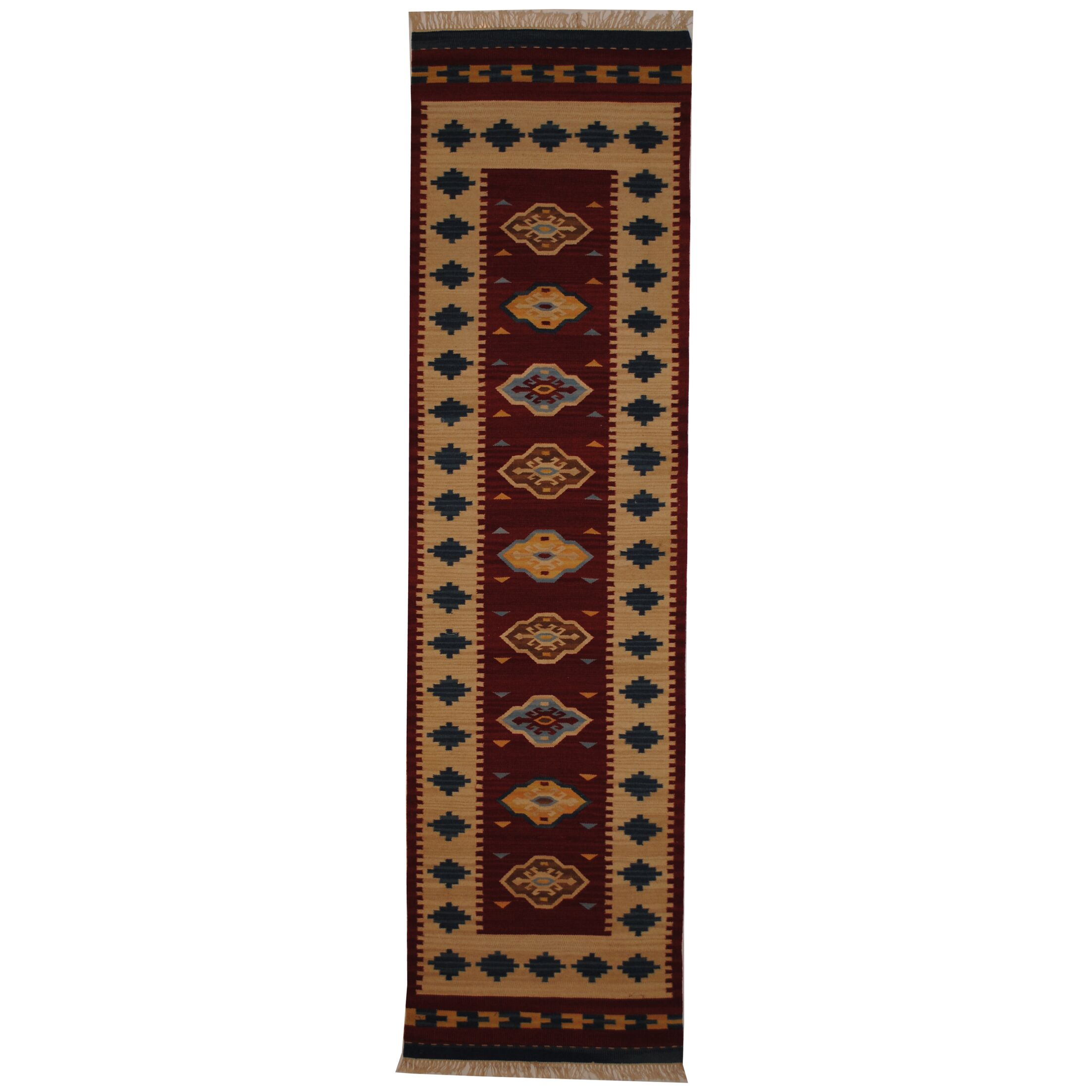 Hand-Woven Red/ Ivory Indoor Area Rug Rug Size: Runner 2'6