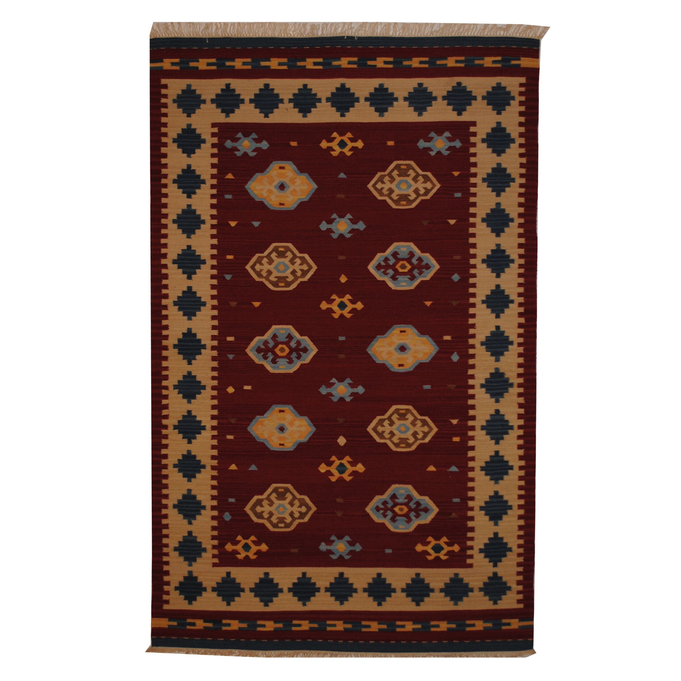 Hand-Woven Red/ Ivory Indoor Area Rug Rug Size: Rectangle 5' x 8'