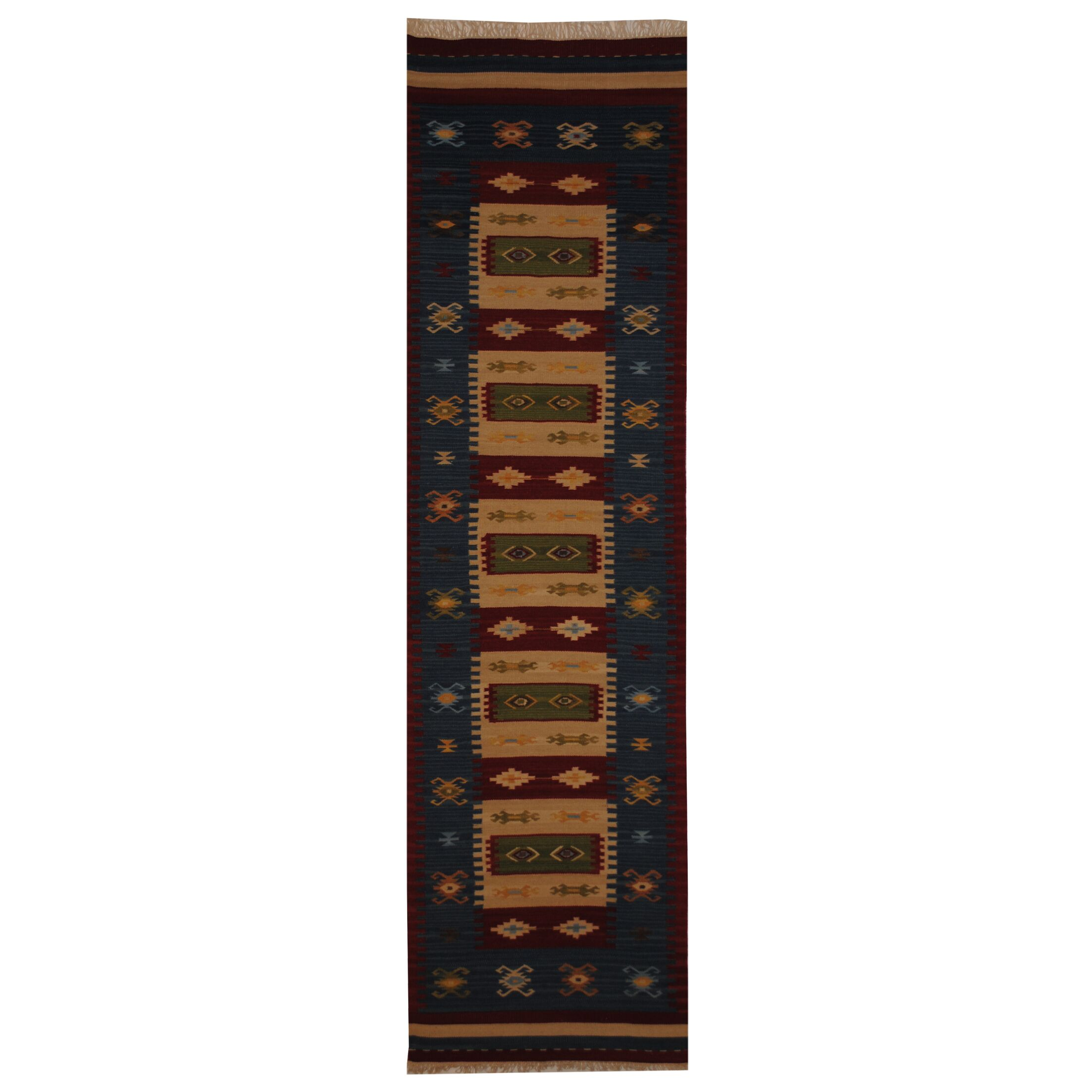 Hand-Woven Ivory/ Red Indoor Area Rug Rug Size: Runner 2'6