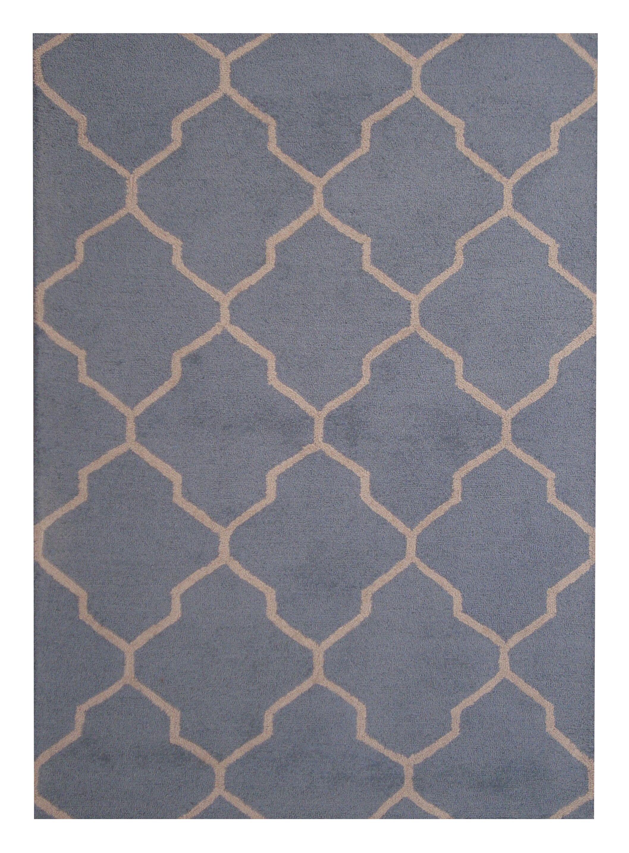 Hand-Tufted Light Blue/Beige Indoor Area Rug Rug Size: 5' x 7'