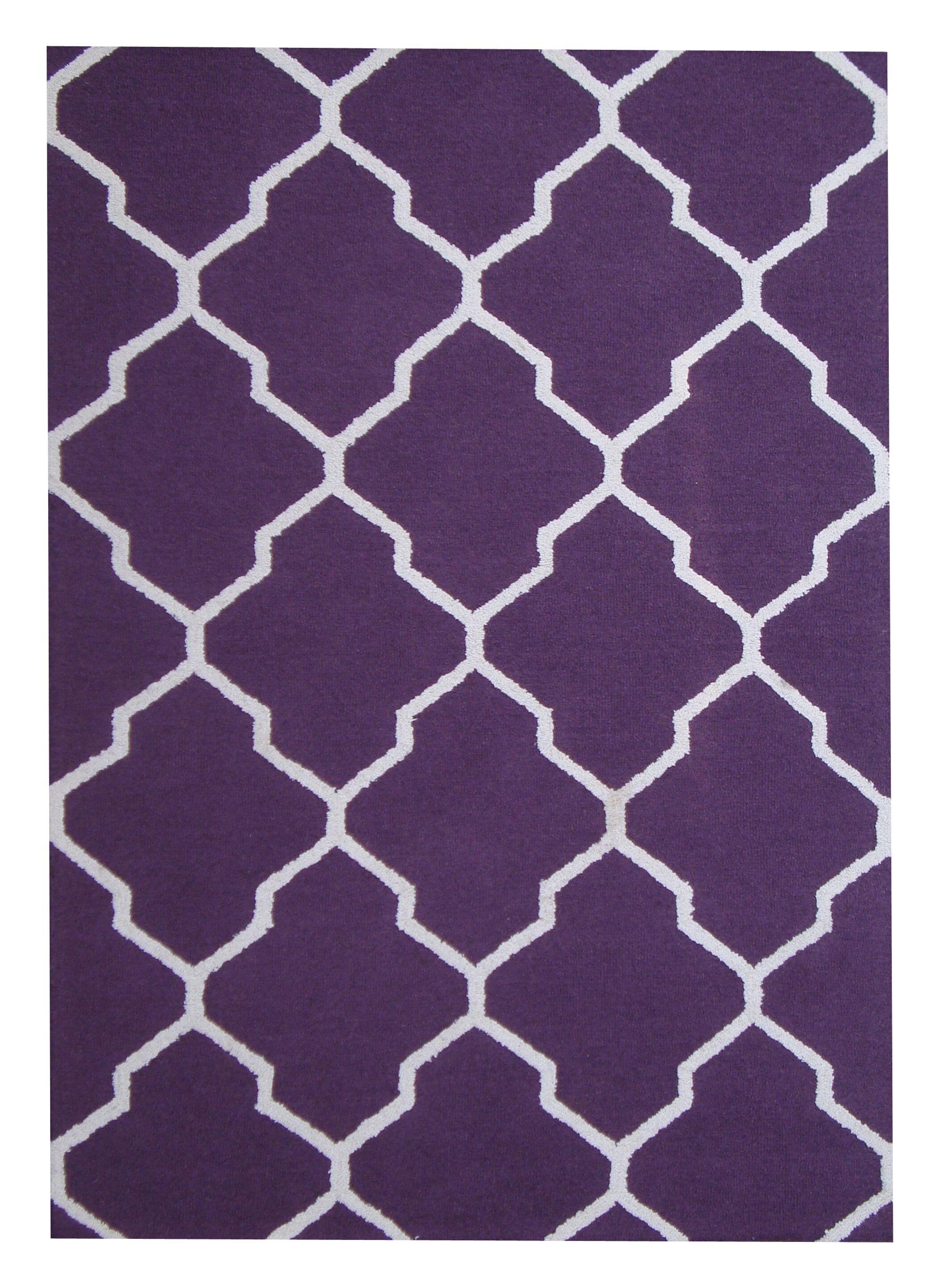Hand-Tufted Purple/Ivory Indoor Area Rug