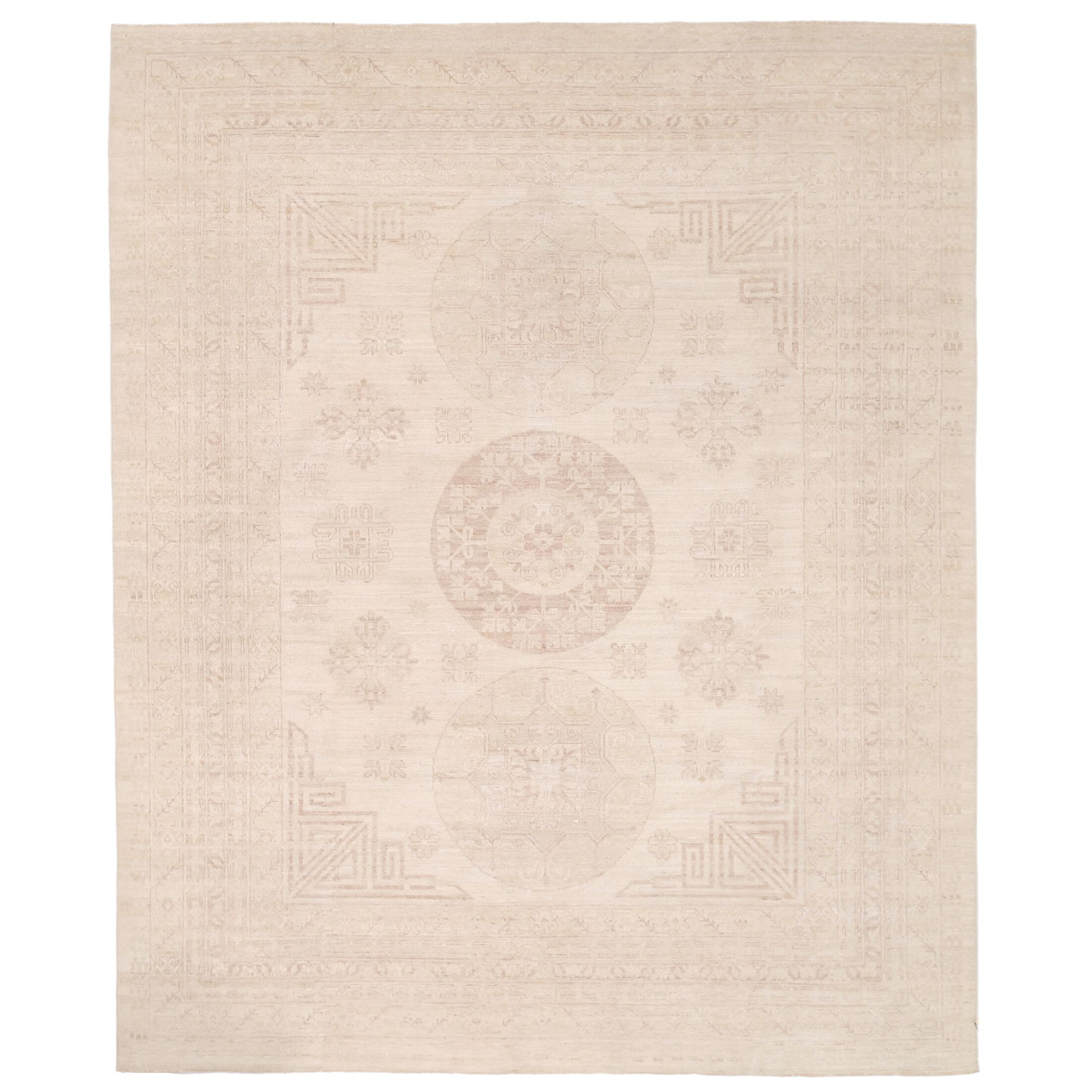 Vegetable Dye Hand-Knotted Ivory Area Rug