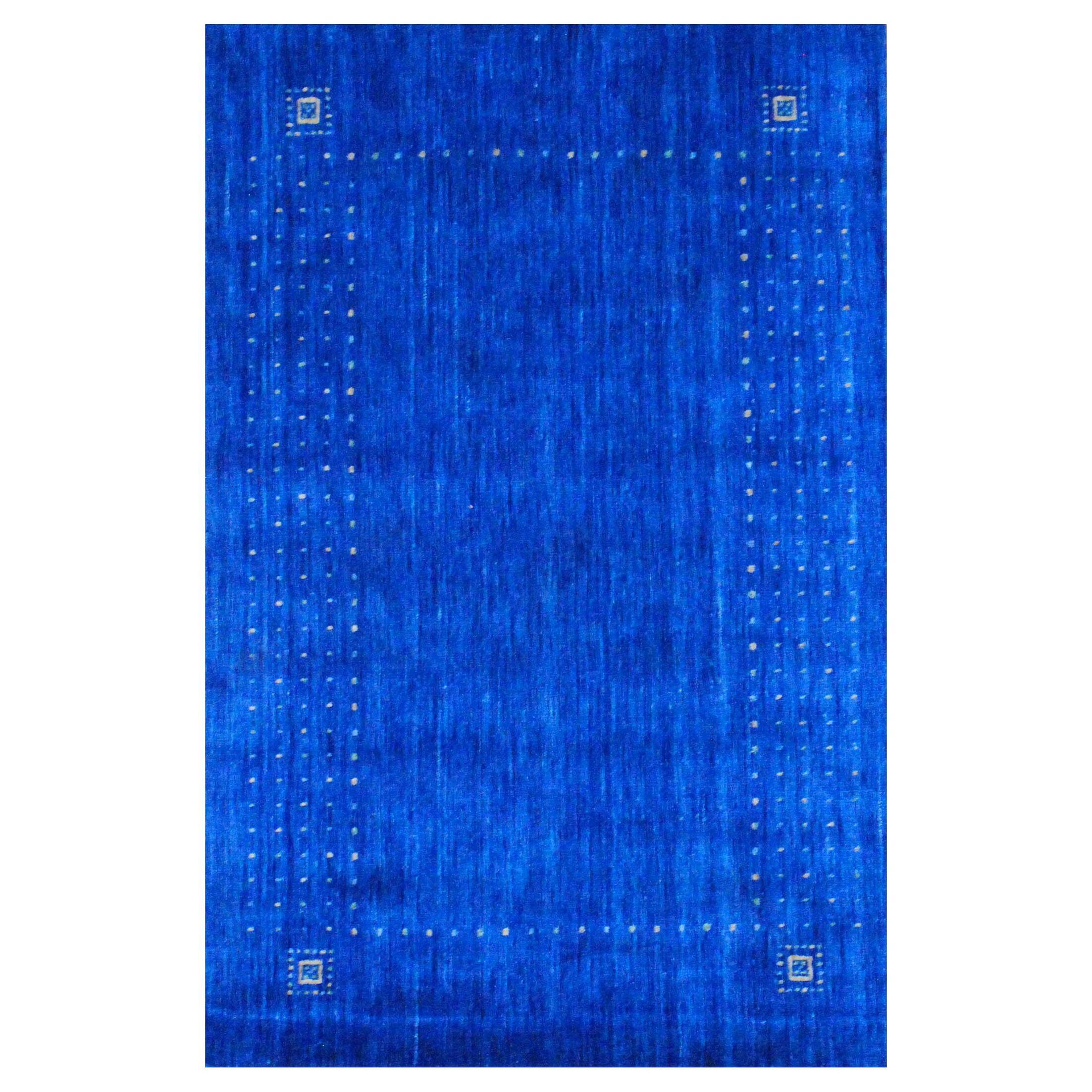 Hand-loomed Gabbeh Blue/ Beige Wool Rug
