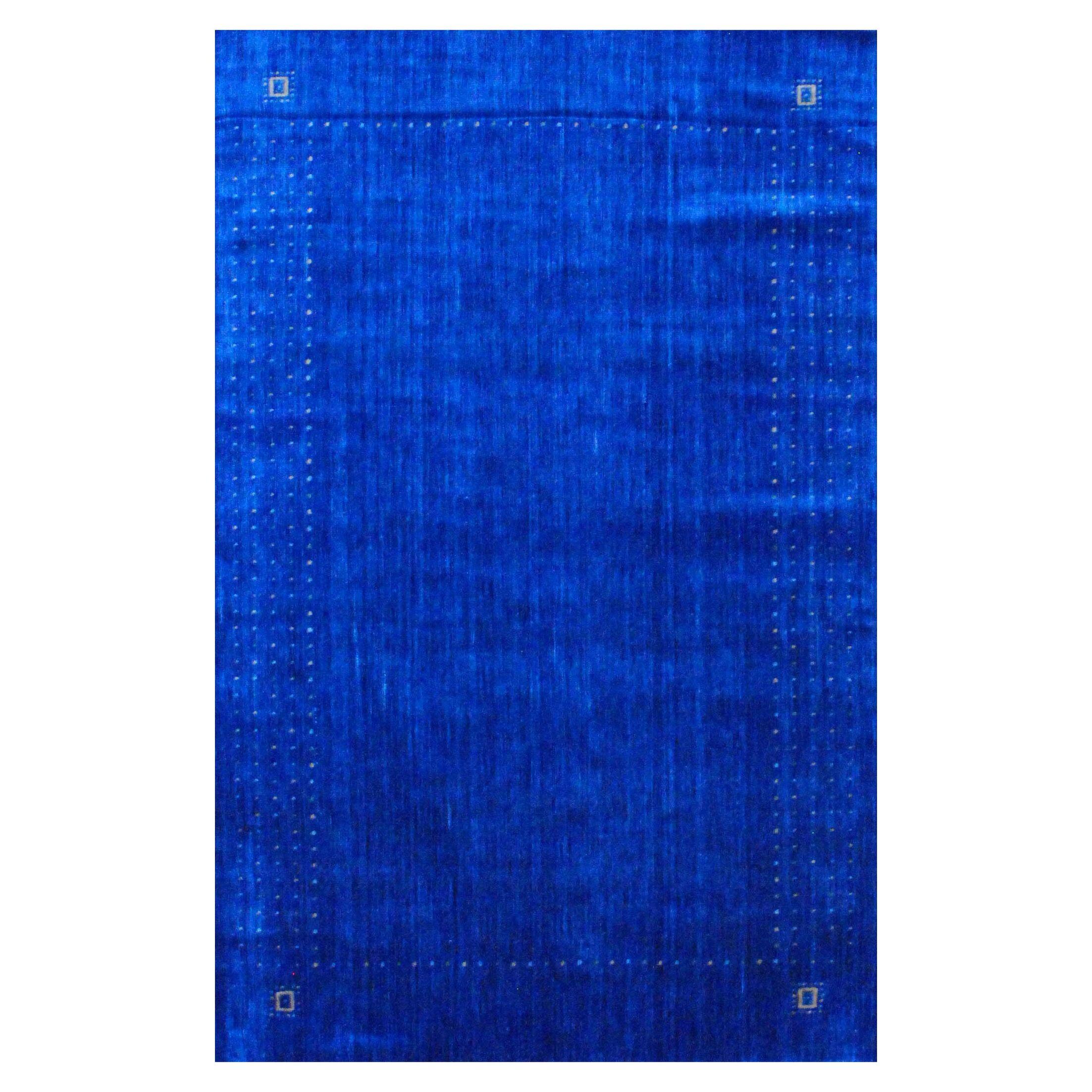 Hand-loomed Gabbeh Blue/ Green Wool Rug