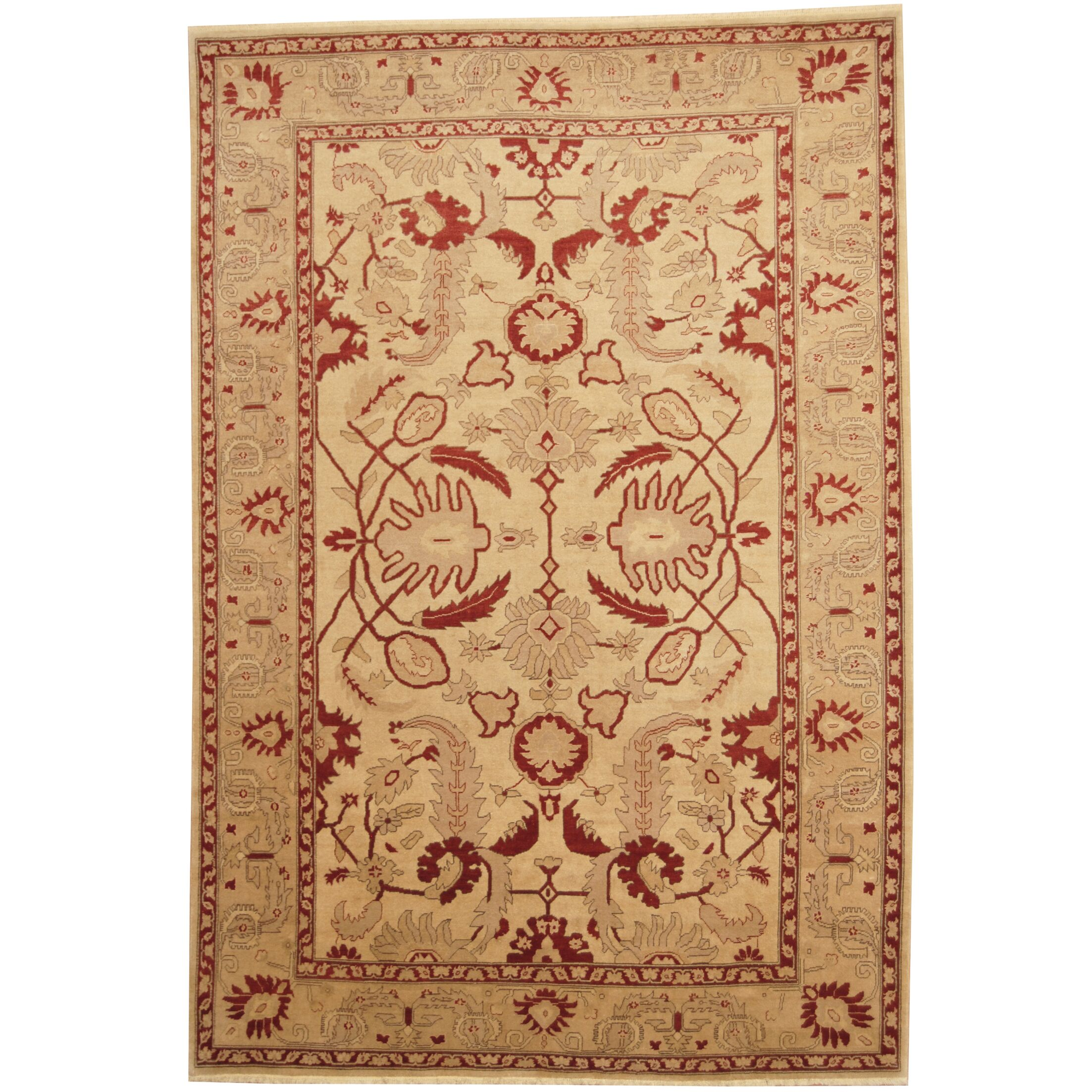 Afghan Vegetable Dye Oushak Hand-Knotted Gold/Red Area Rug