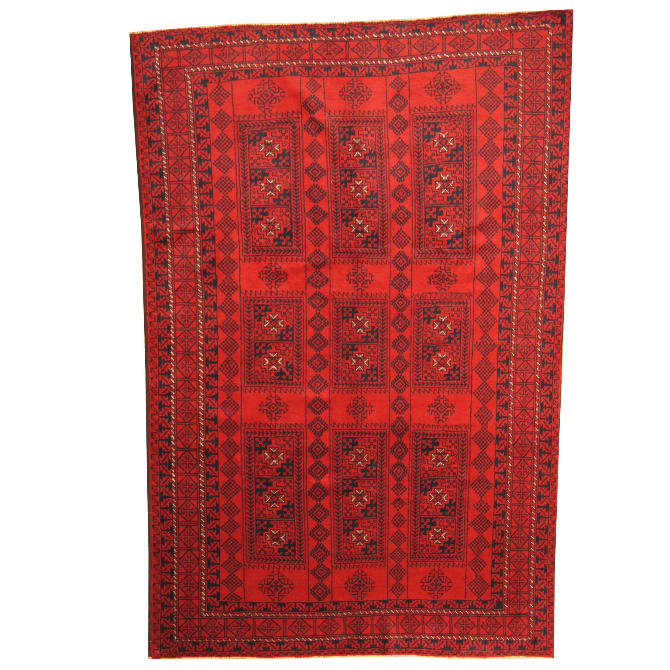 Prentice Hand-Knotted Red/ Navy Area Rug