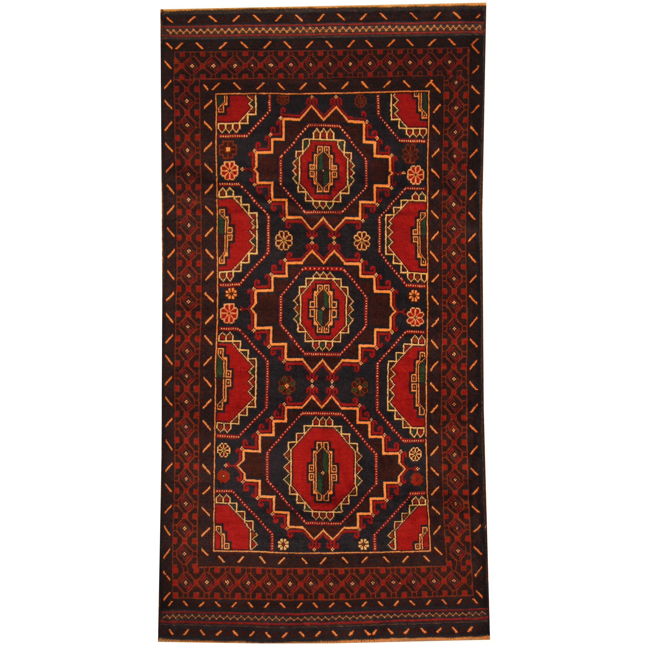 Prentice Tribal Balouchi Hand-Knotted Navy/Brown Area Rug
