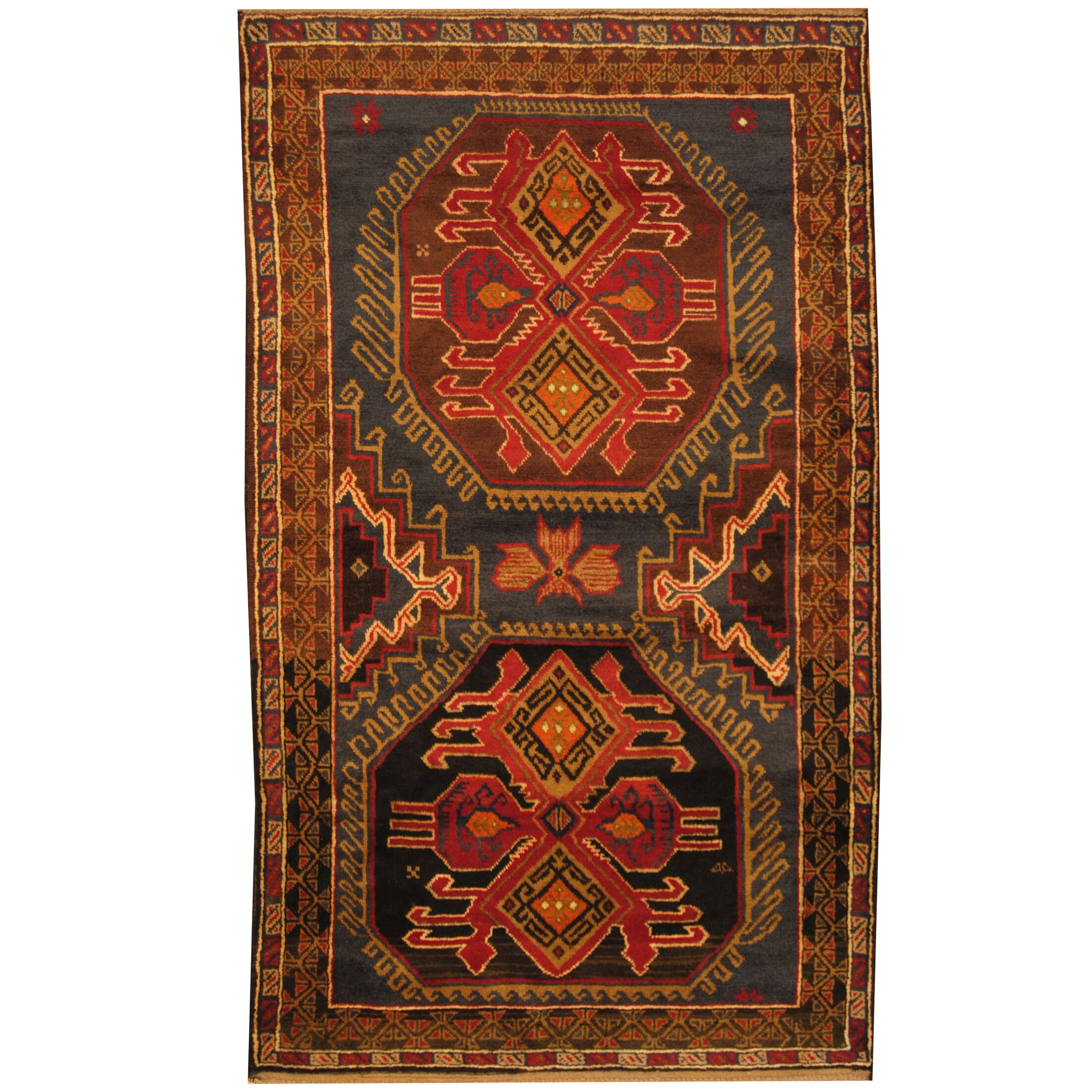 Prentice Tribal Balouchi Hand-Knotted Navy/Gold Area Rug
