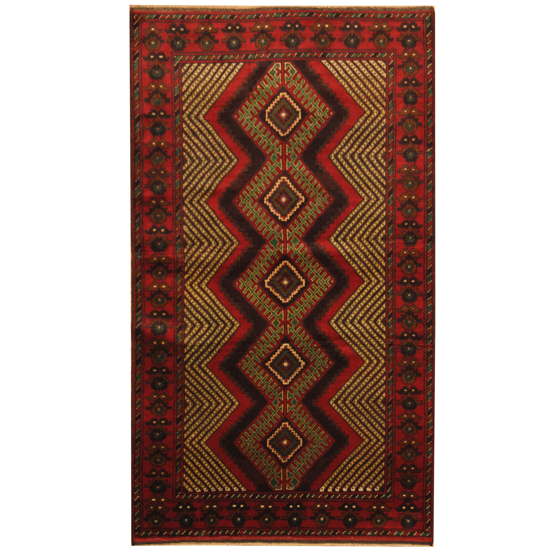 Prentice Tribal Balouchi Hand-Knotted Red/Ivory Area Rug