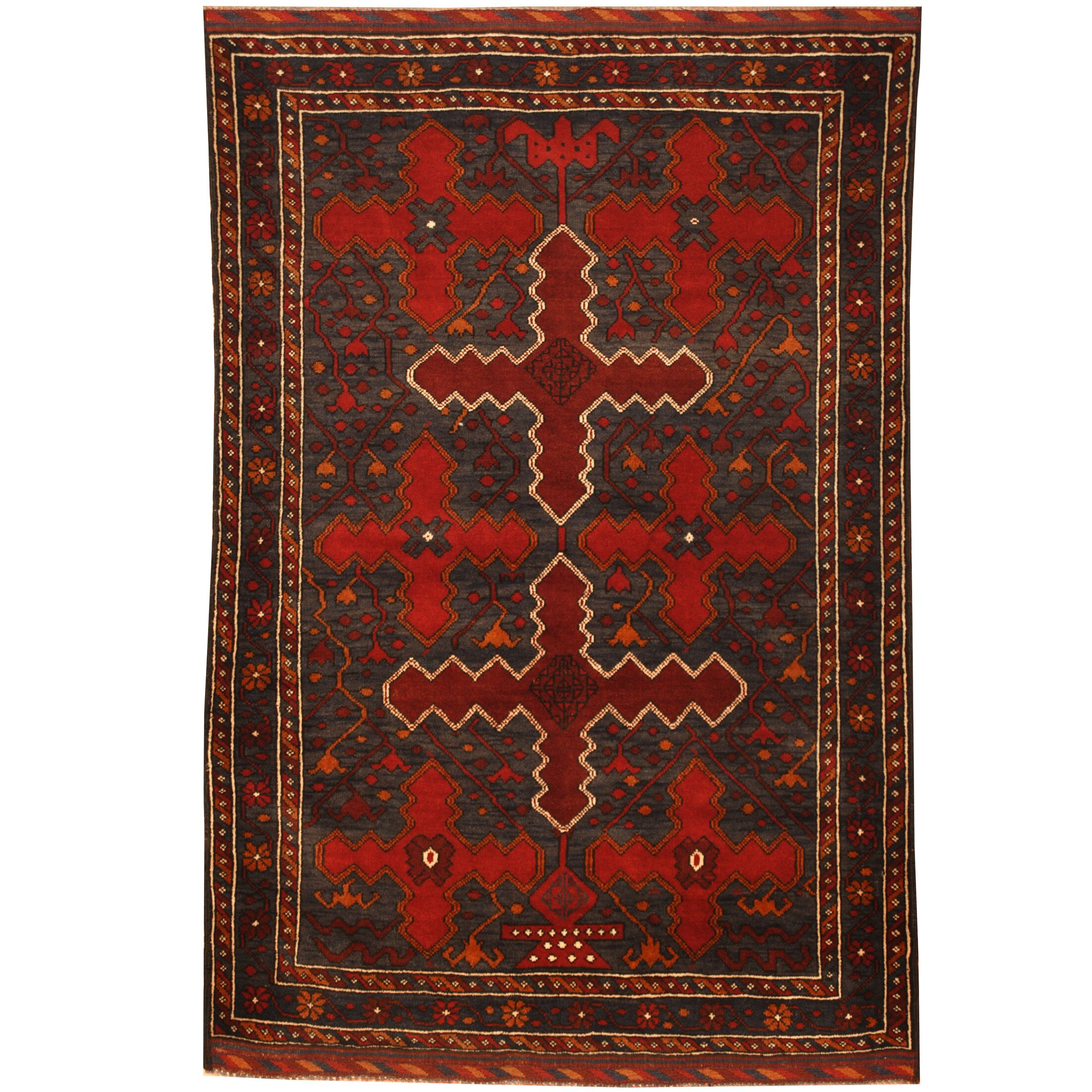 Prentice Tribal Balouchi Hand-Knotted Blue/Red Area Rug