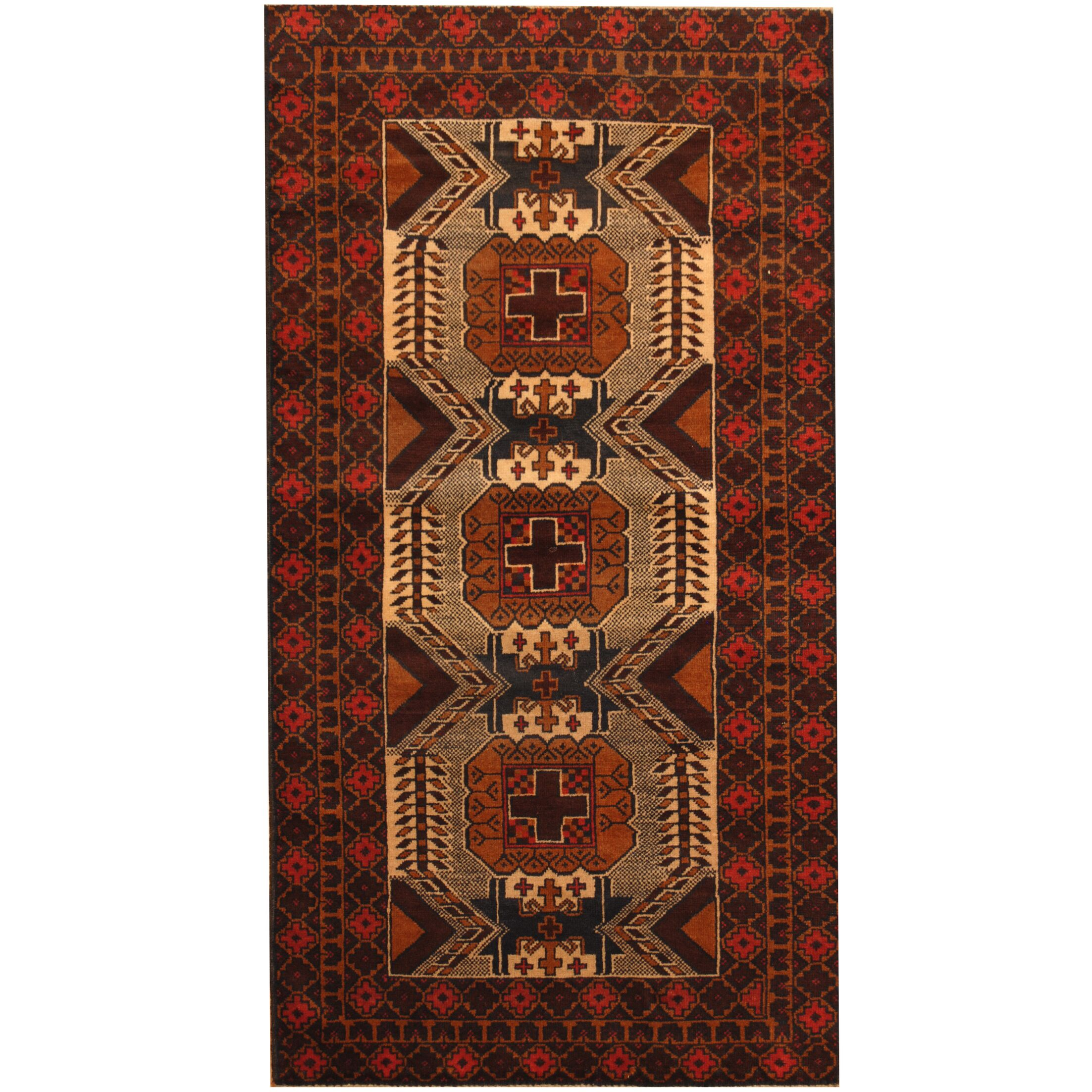 Prentice Tribal Balouchi Hand-Knotted Ivory/Tan Area Rug