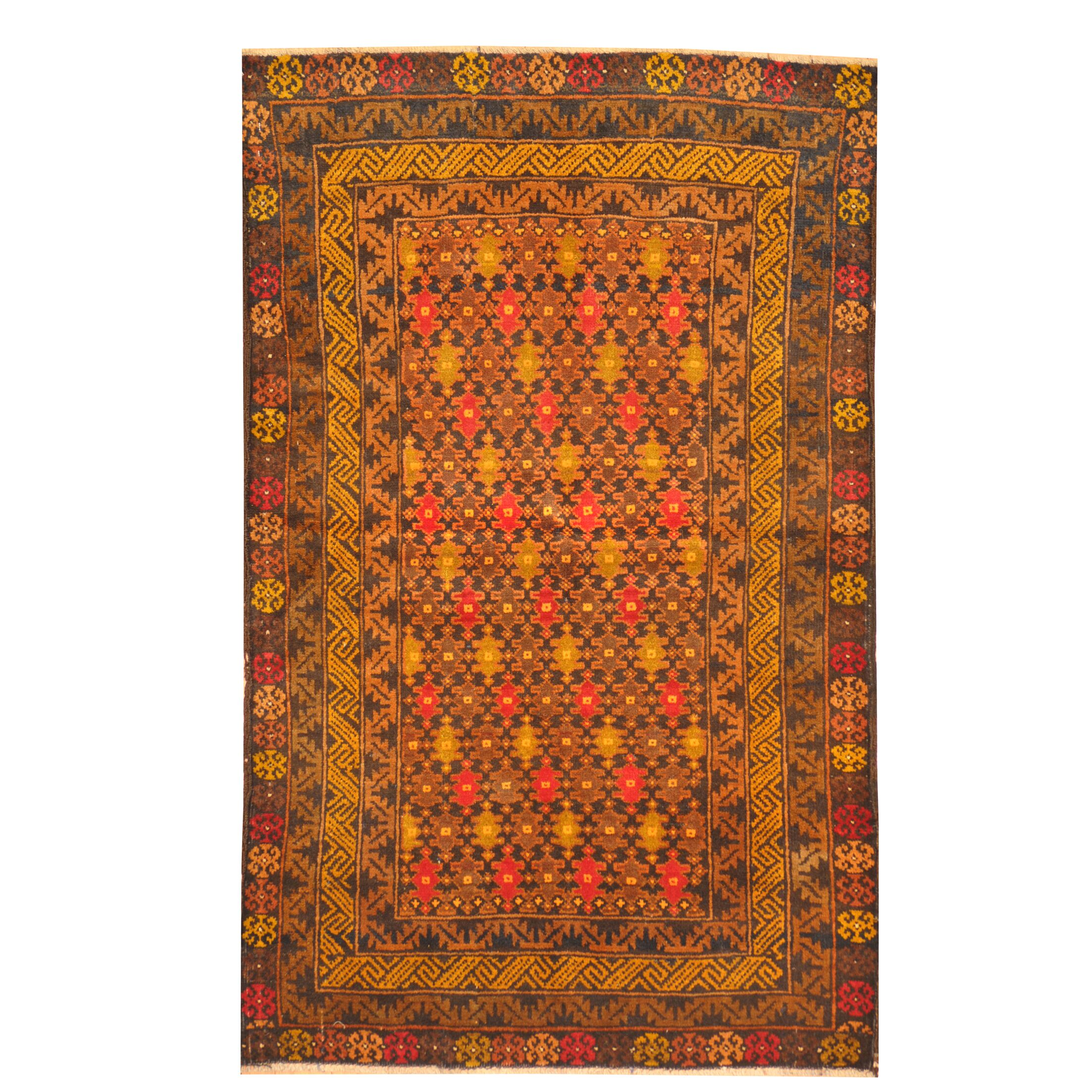 Prentice Hand Knotted Wool Red/Brown Area Rug