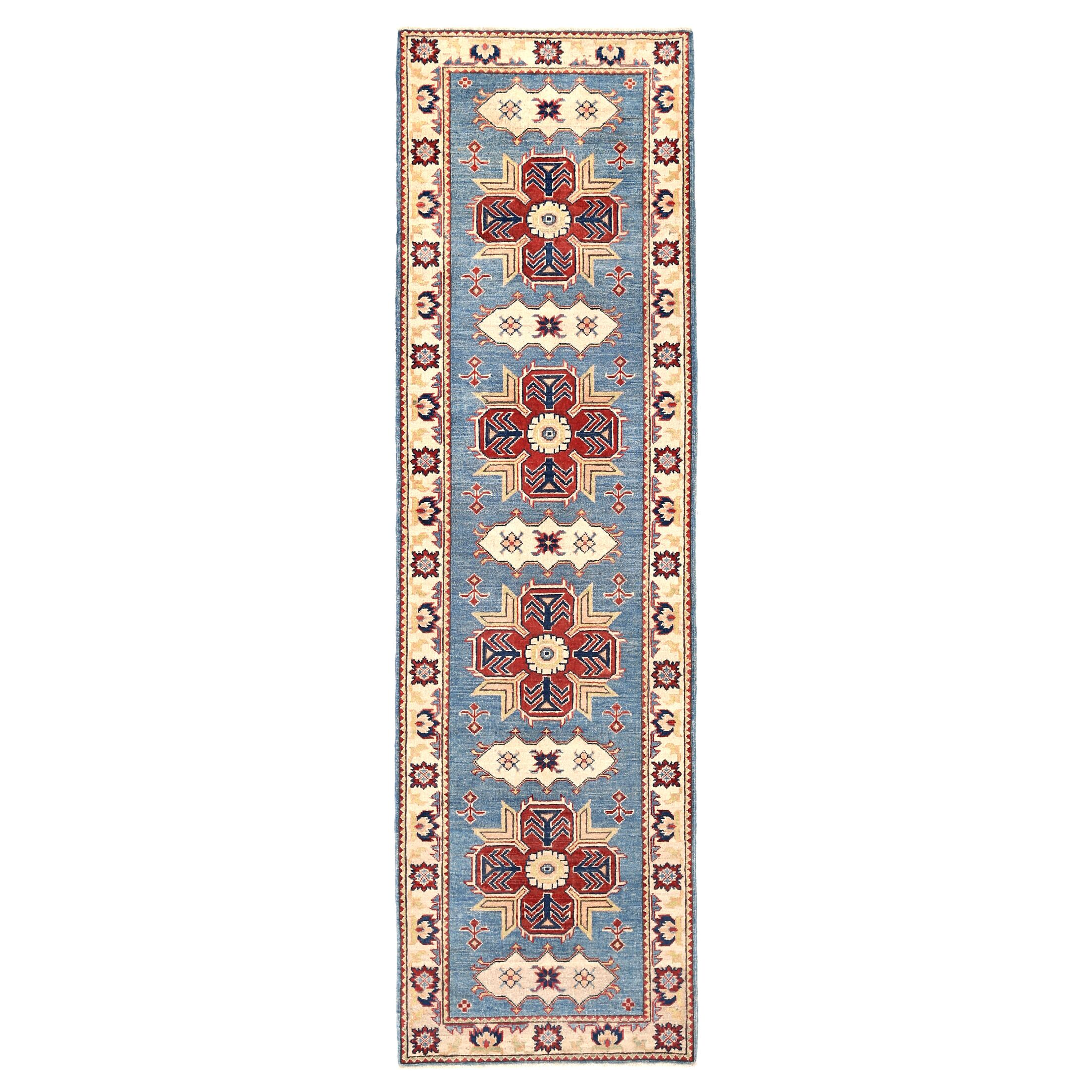 Kazak Hand-Knotted Light Blue/Ivory Area Rug