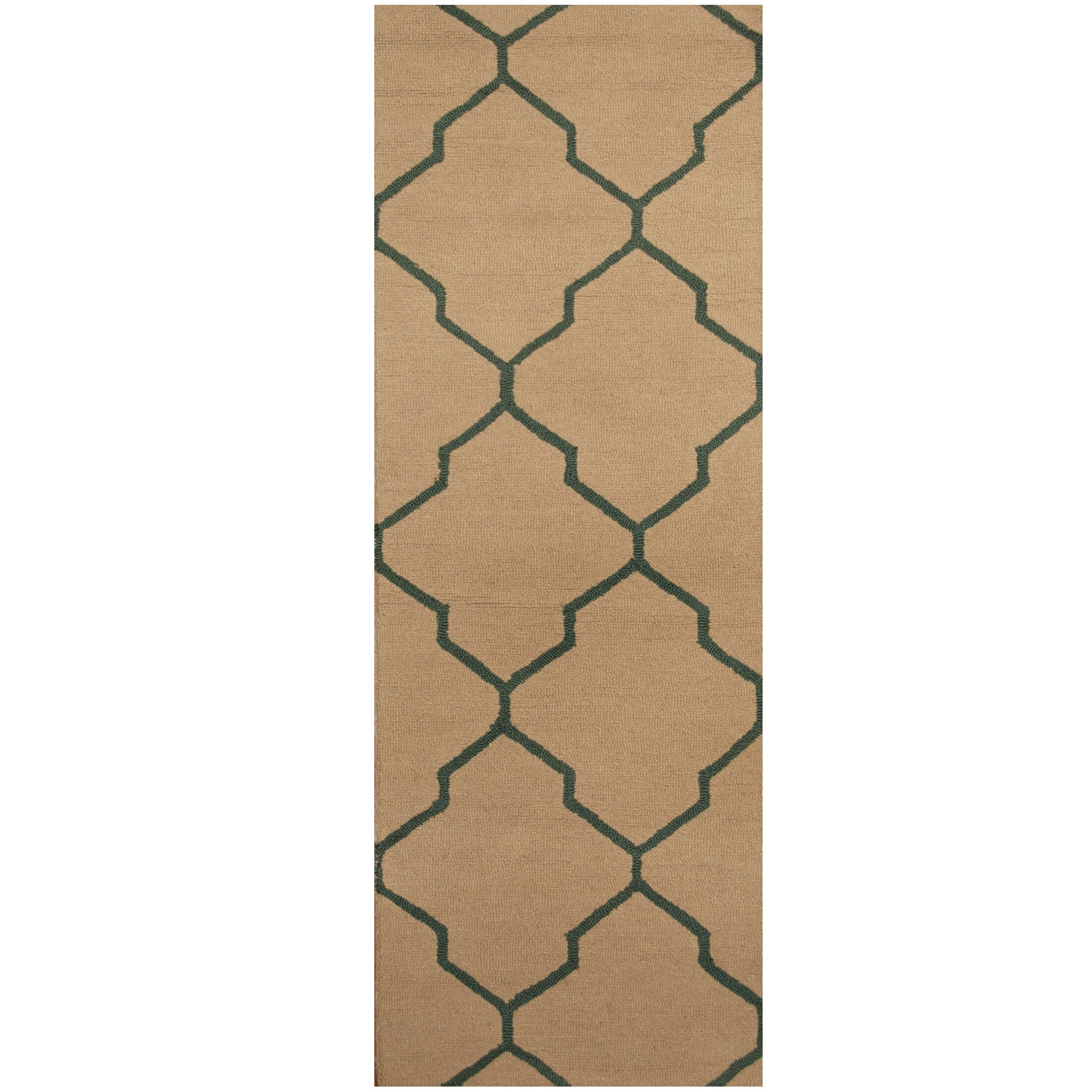 Hand-Tufted Beige/Green Area Rug